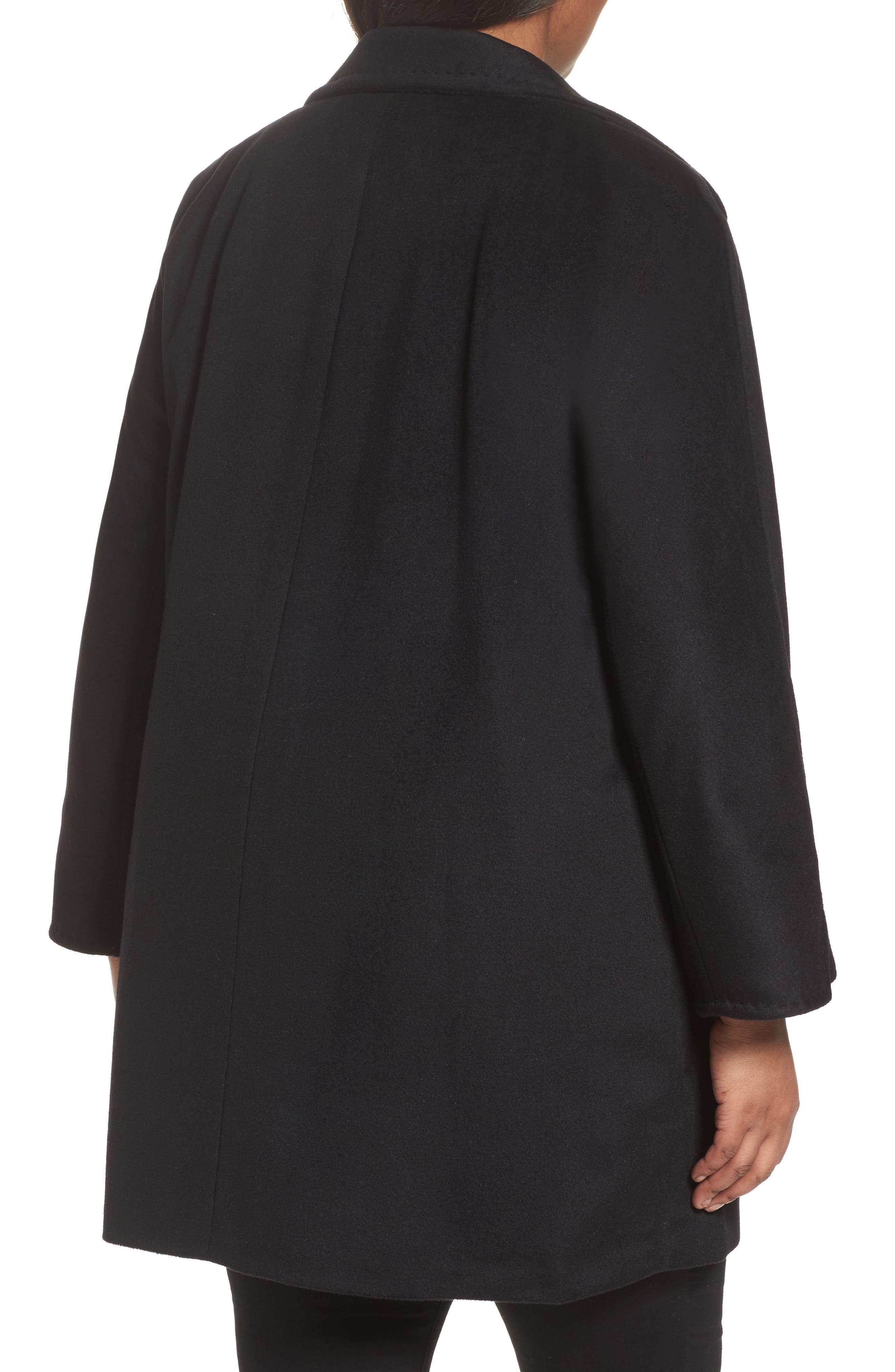 Kimono Wool Blend Coat,                             Alternate thumbnail 2, color,                             Black