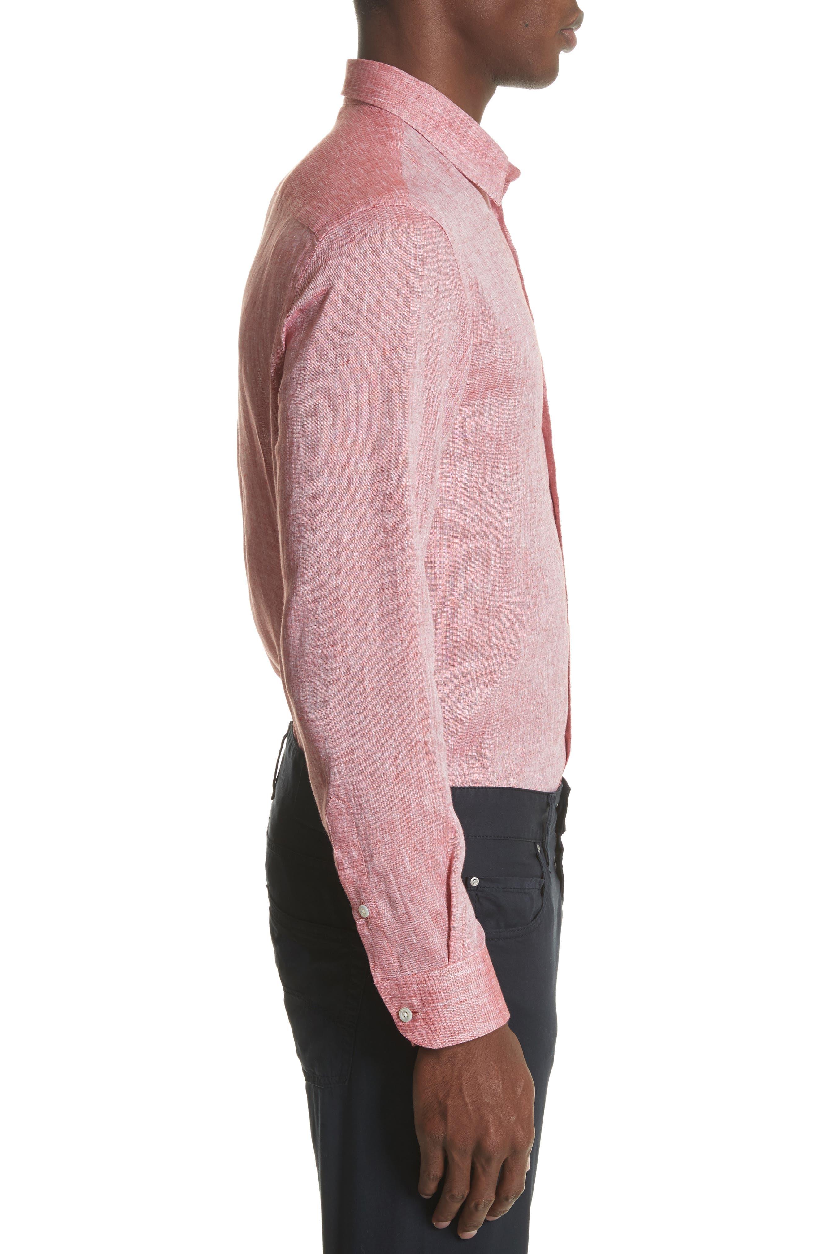 Regular Fit Chambray Sport Shirt,                             Alternate thumbnail 3, color,                             Medium Red