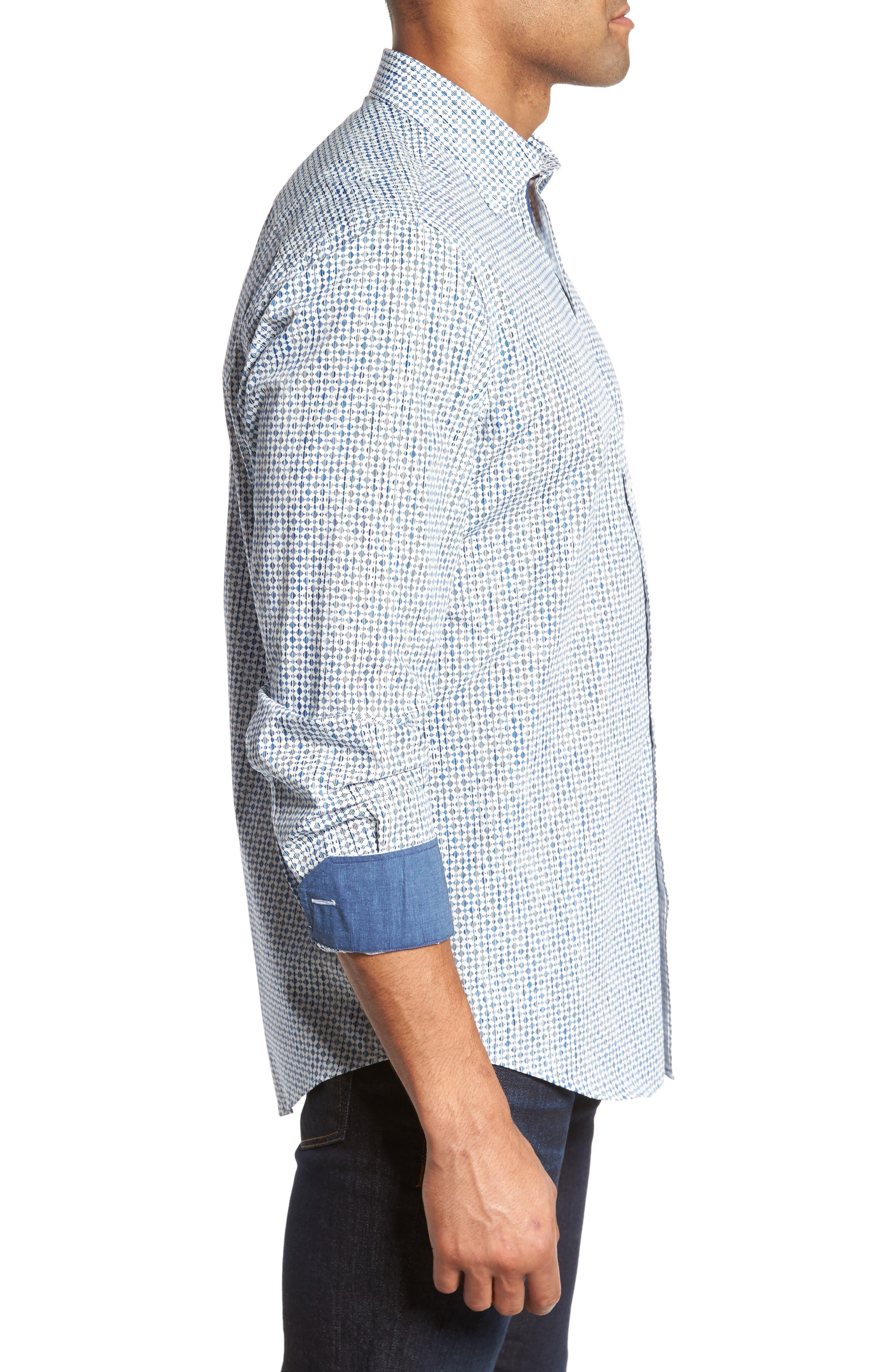 Classic Fit Print Sport Shirt,                             Alternate thumbnail 3, color,                             Air Blue
