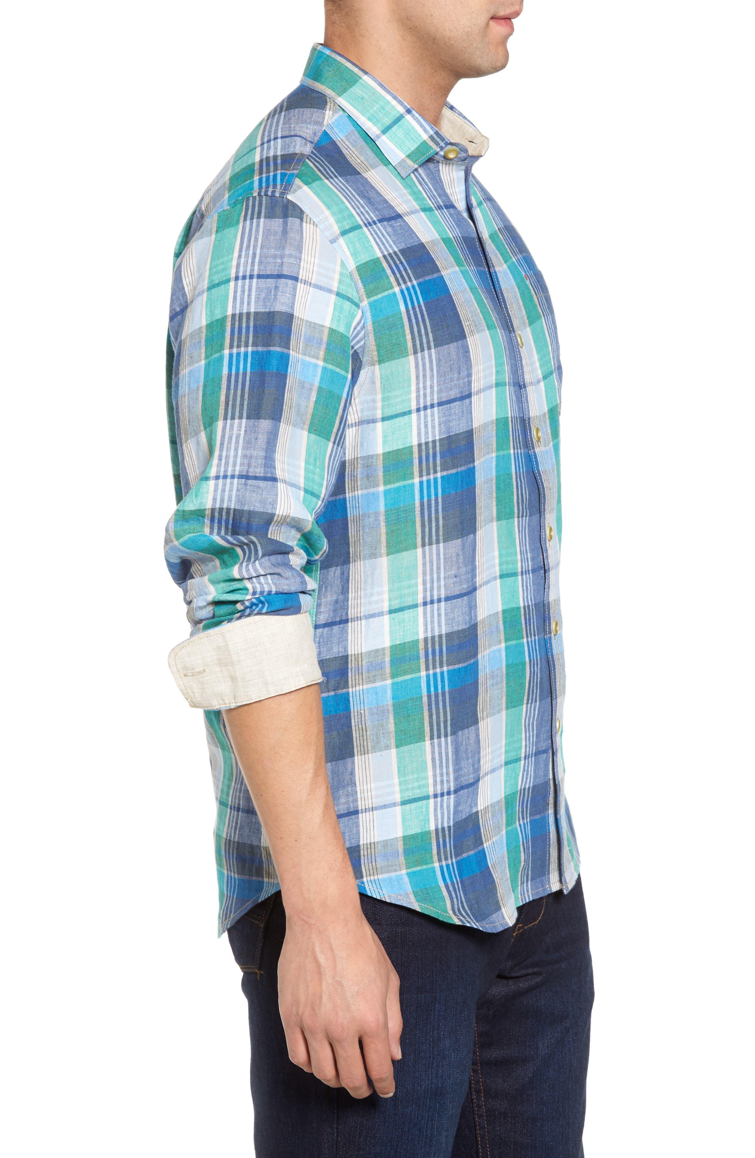 Vero Beach Madras Plaid Linen Sport Shirt,                             Alternate thumbnail 3, color,                             Castaway Green