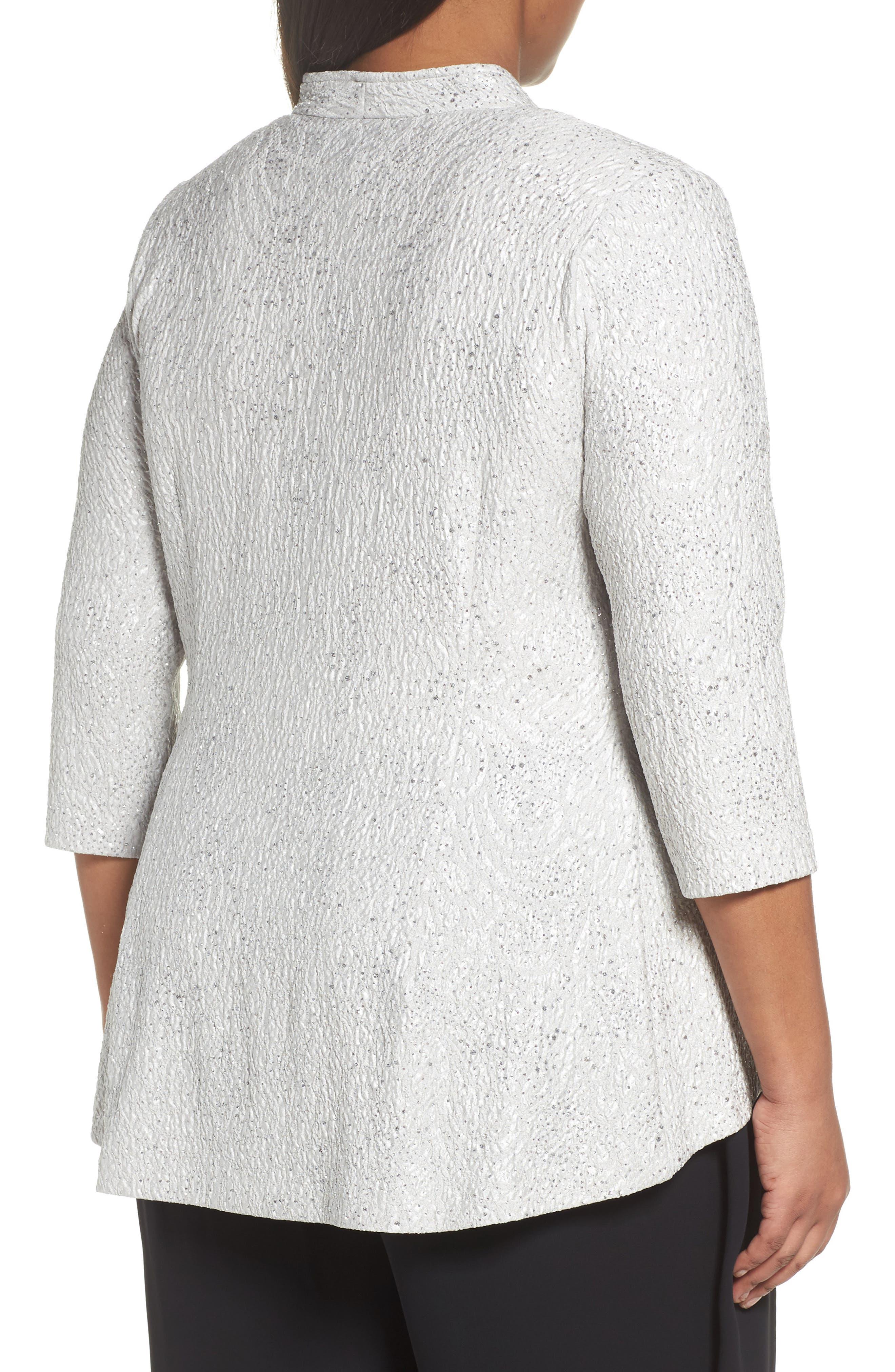 Alternate Image 2  - Alex Evenings Mandarin Collar Shimmer Jacket (Plus Size)
