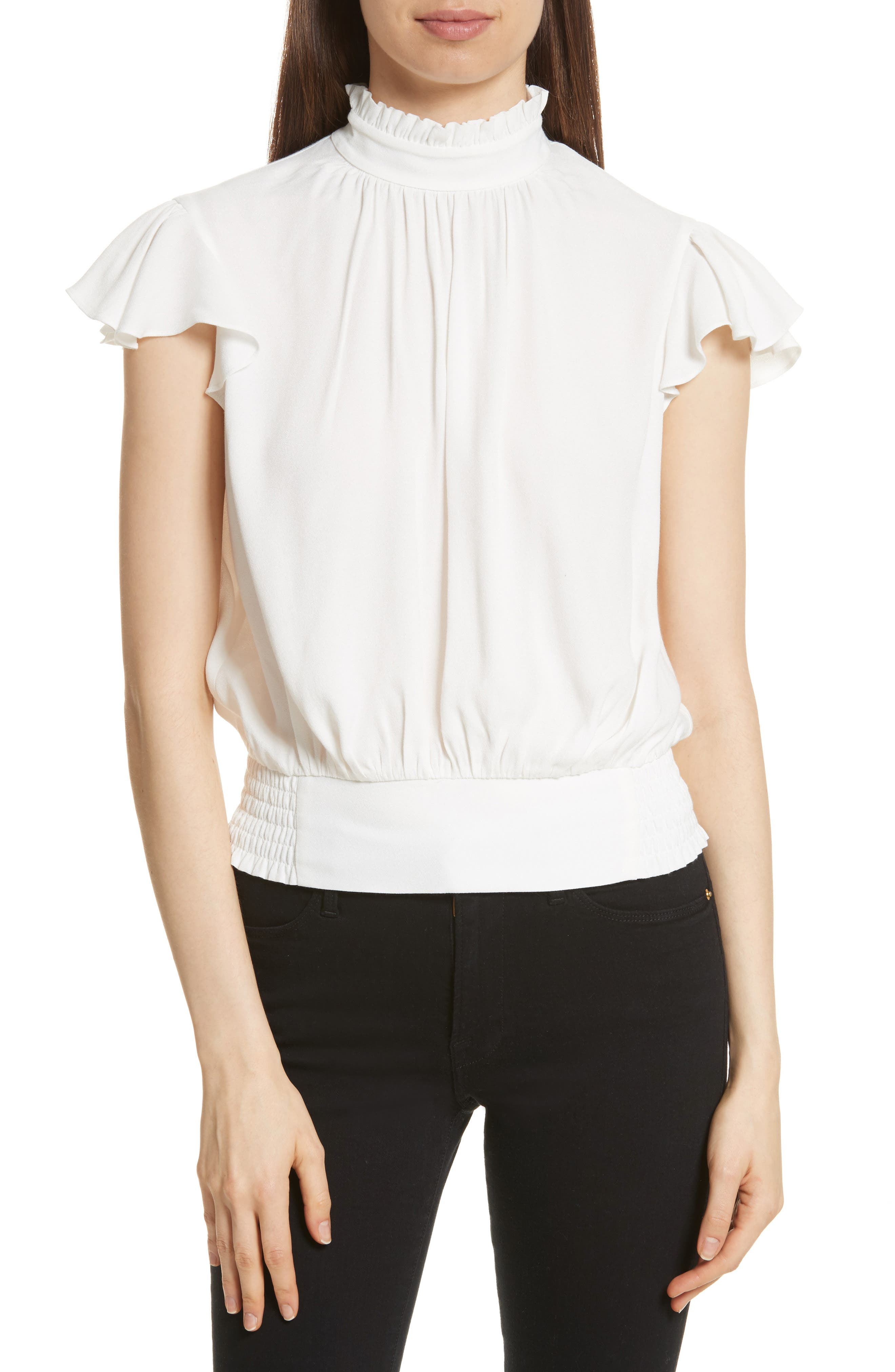 Main Image - FRAME Smocked Ruffle Blouse (Nordstrom Exclusive)