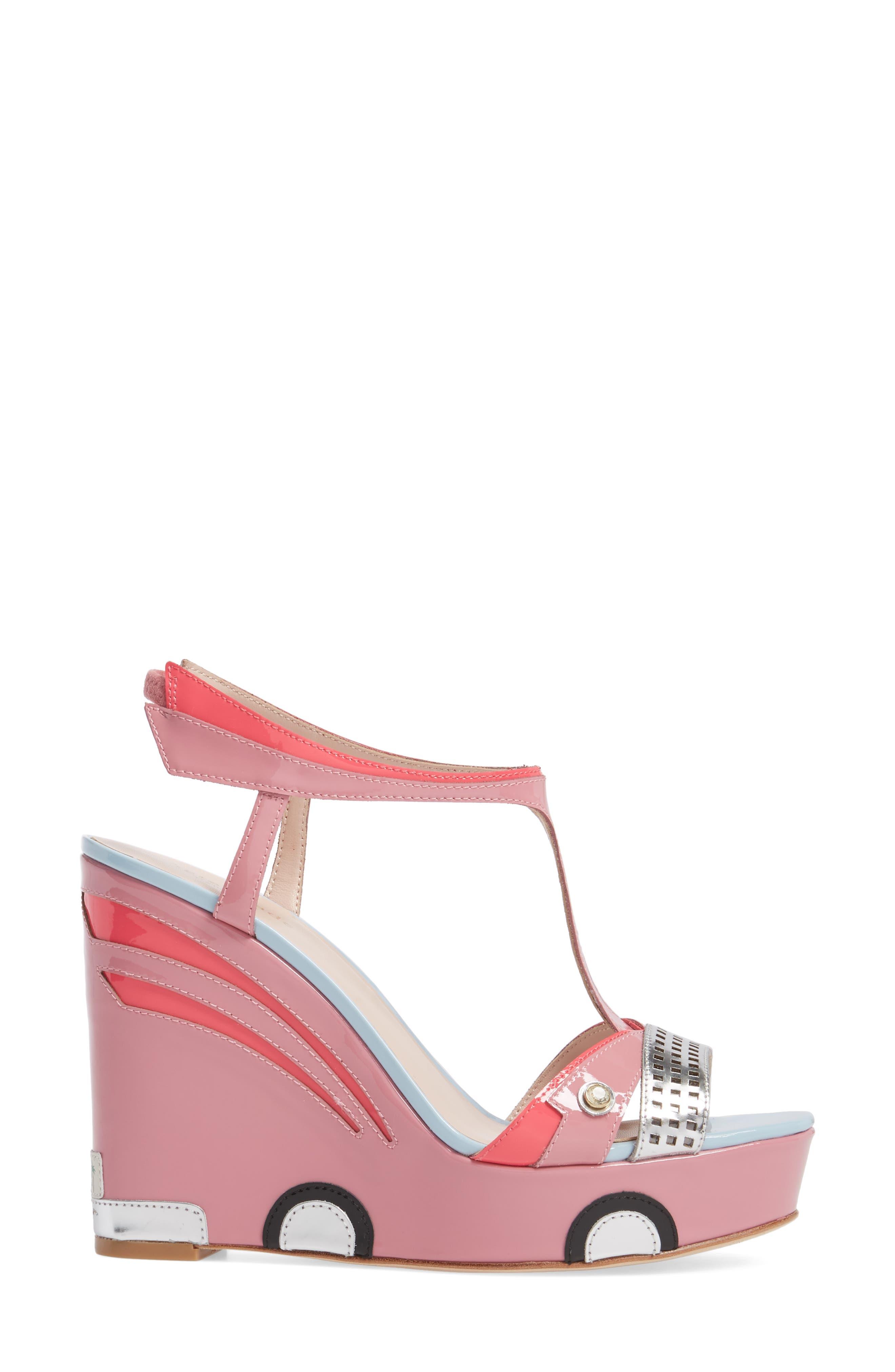 deanna wedge t-strap sandal,                             Alternate thumbnail 3, color,                             Petunia Patent