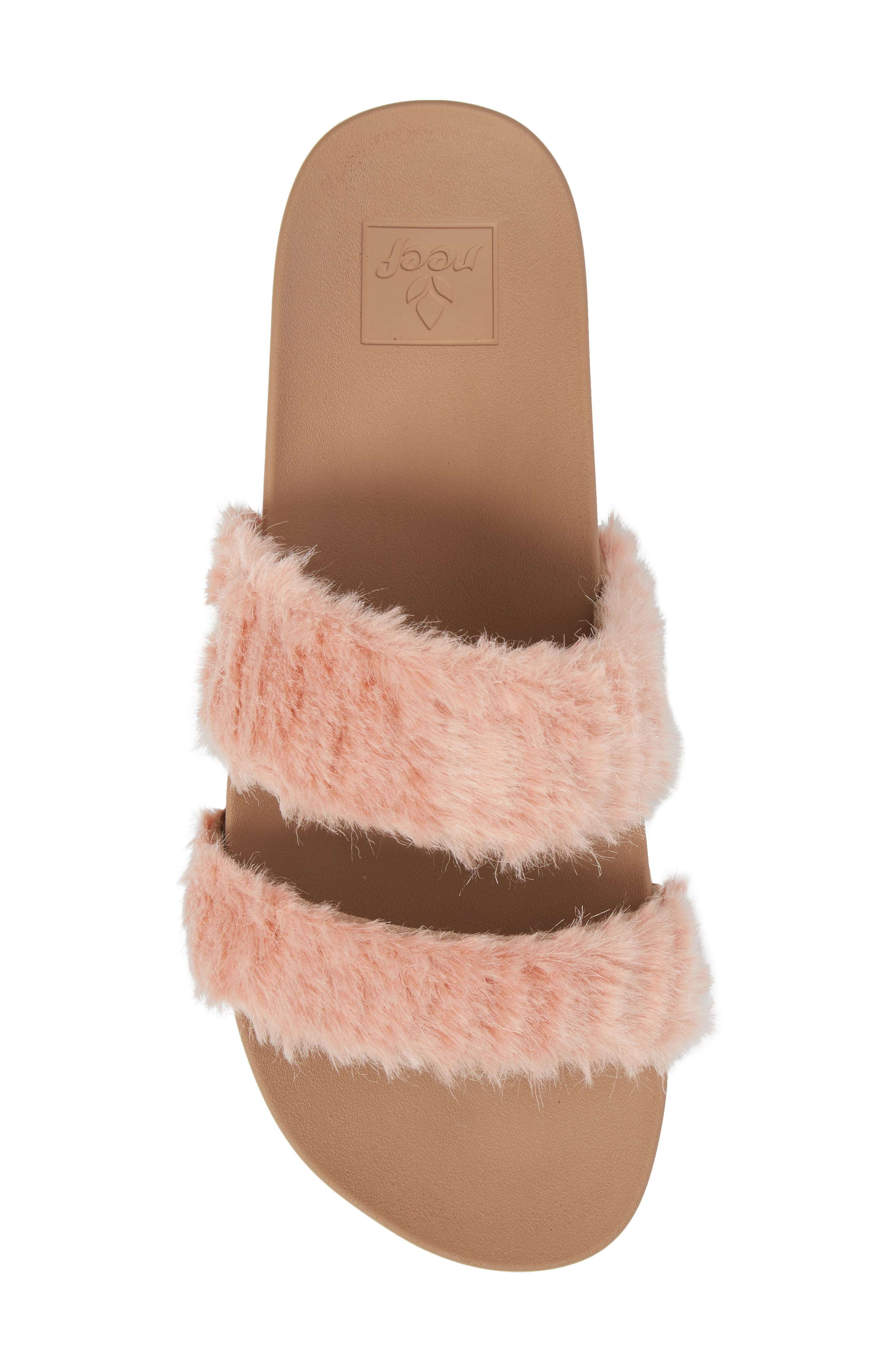 Bounce Faux Fur Double Strap Slide Sandal,                             Alternate thumbnail 5, color,                             Blush
