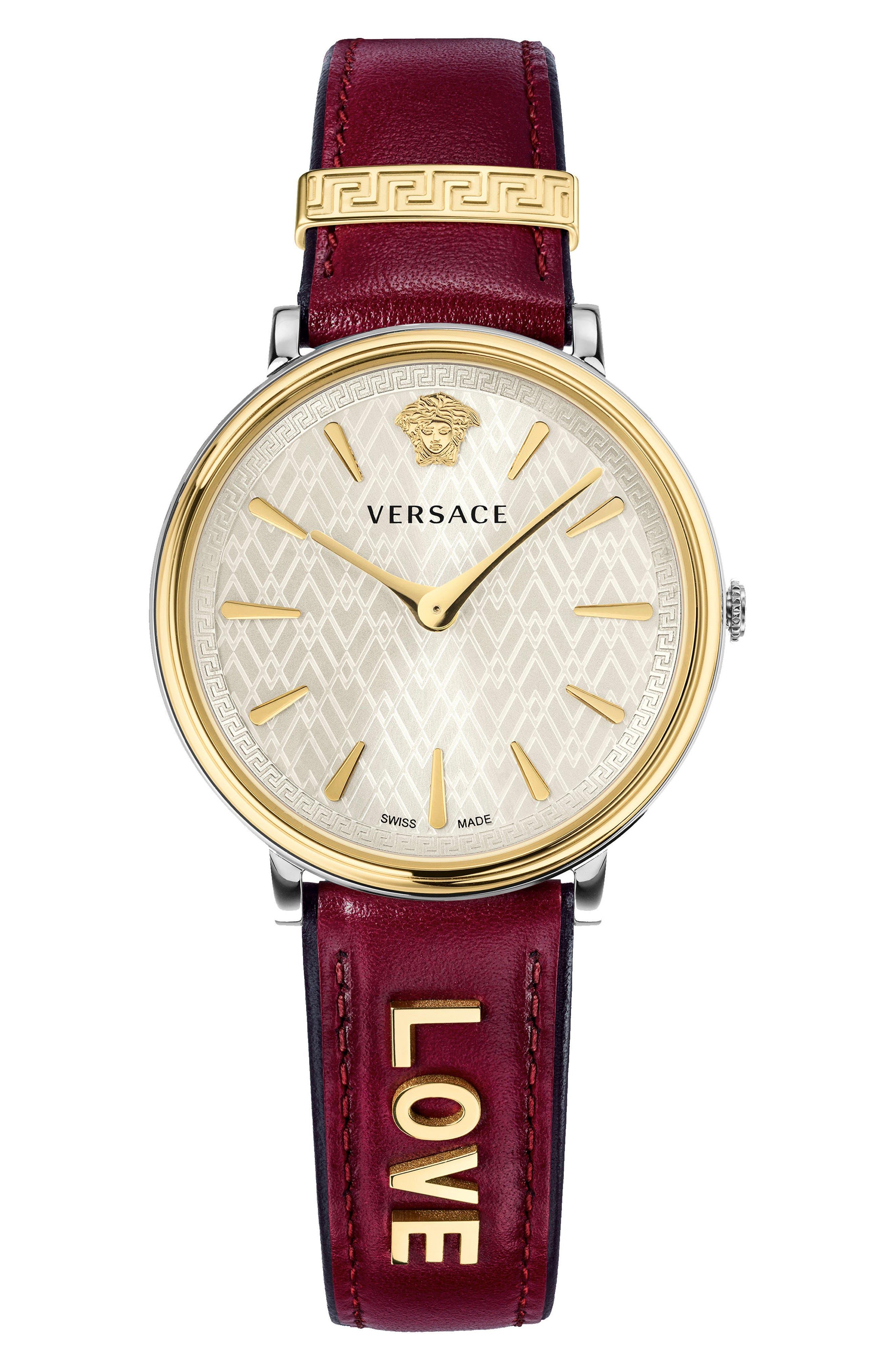 Main Image - Versace Manifesto Leather Strap Watch, 38mm