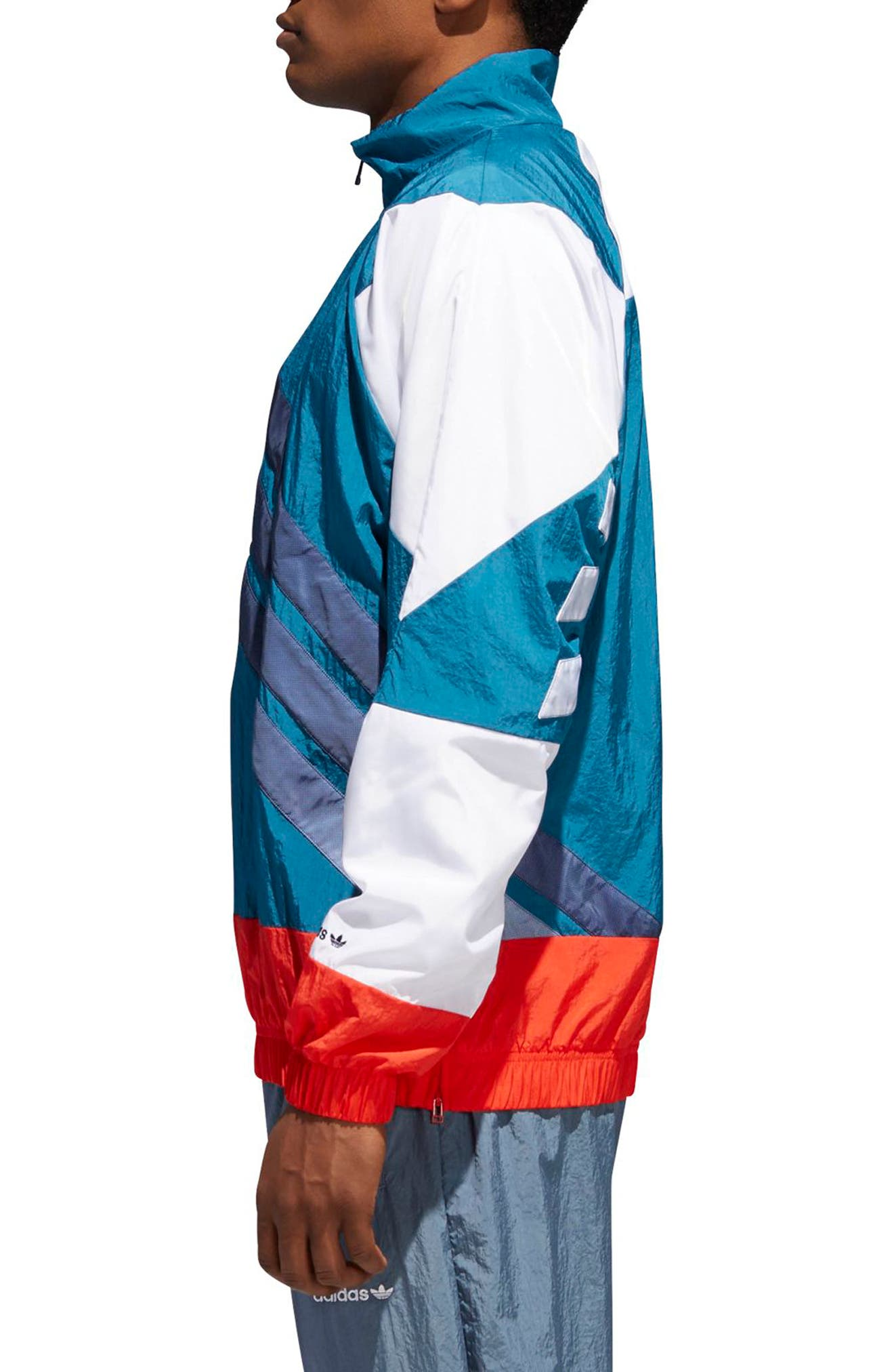 V Stripes Windbreaker,                             Alternate thumbnail 3, color,                             Hii Res Red