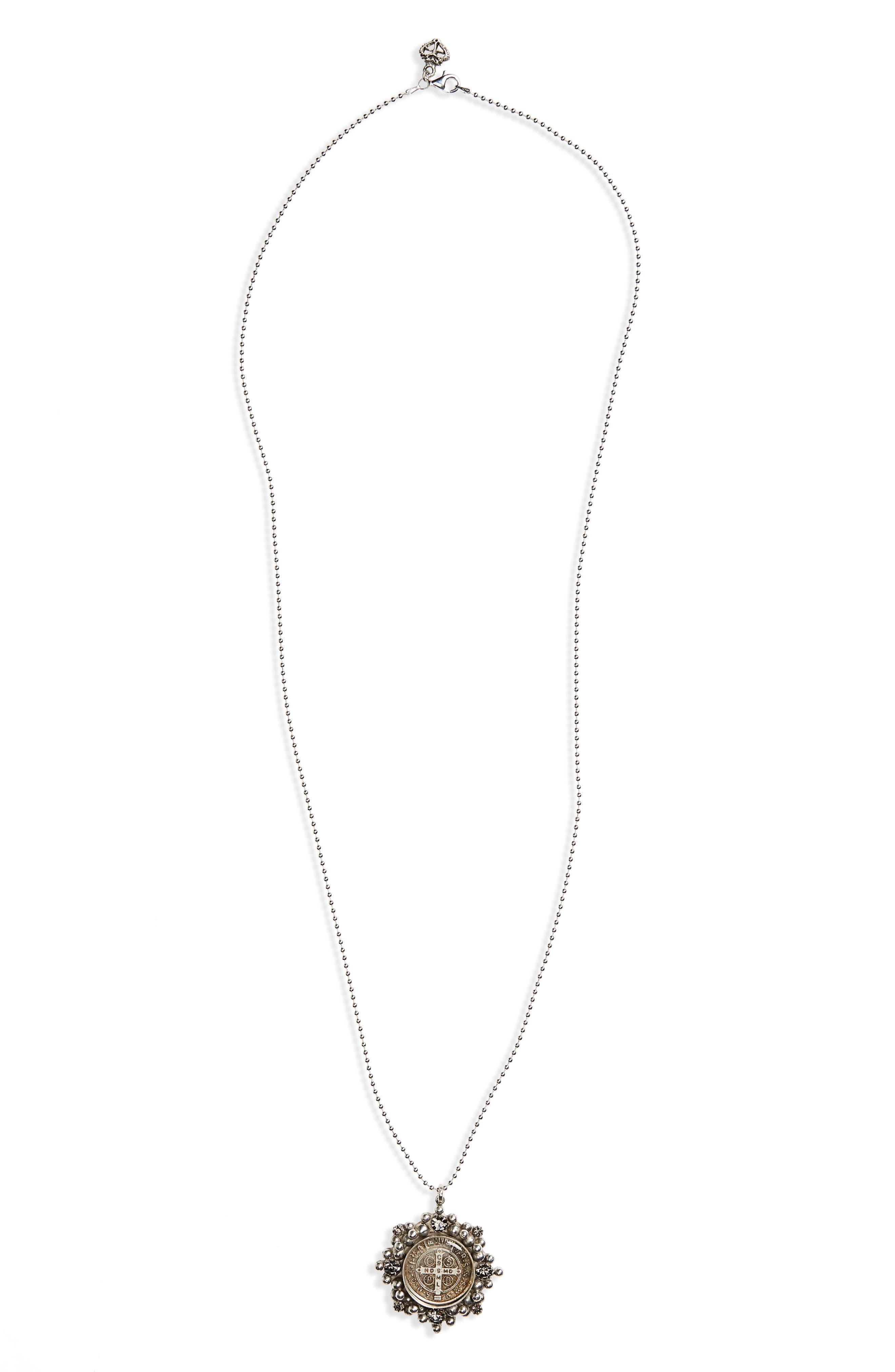 Cloister Cross Pendant Necklace,                         Main,                         color, Silver/ Black Diamond