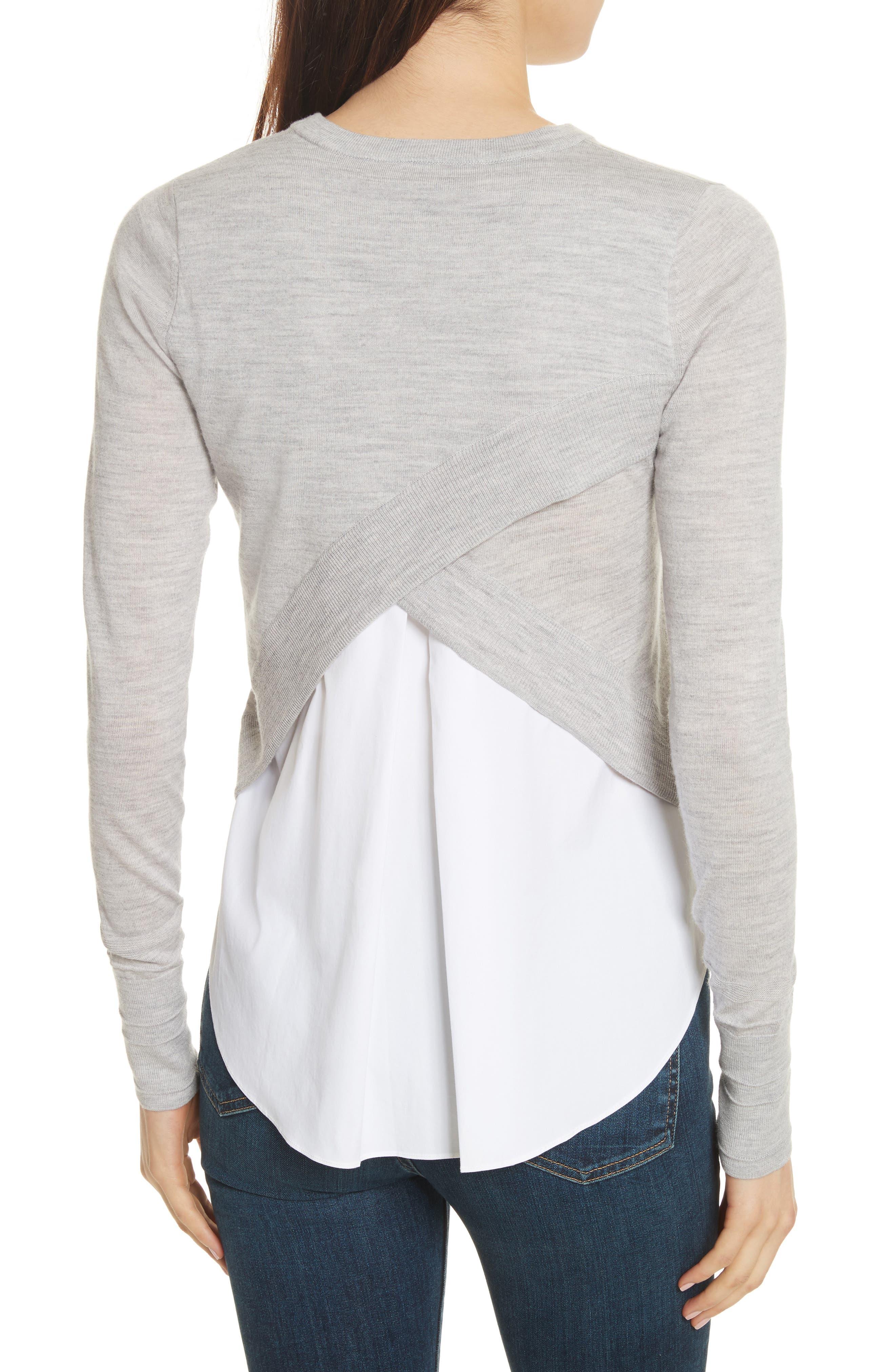 Alma Mixed Media Sweater,                             Alternate thumbnail 2, color,                             Heather Grey