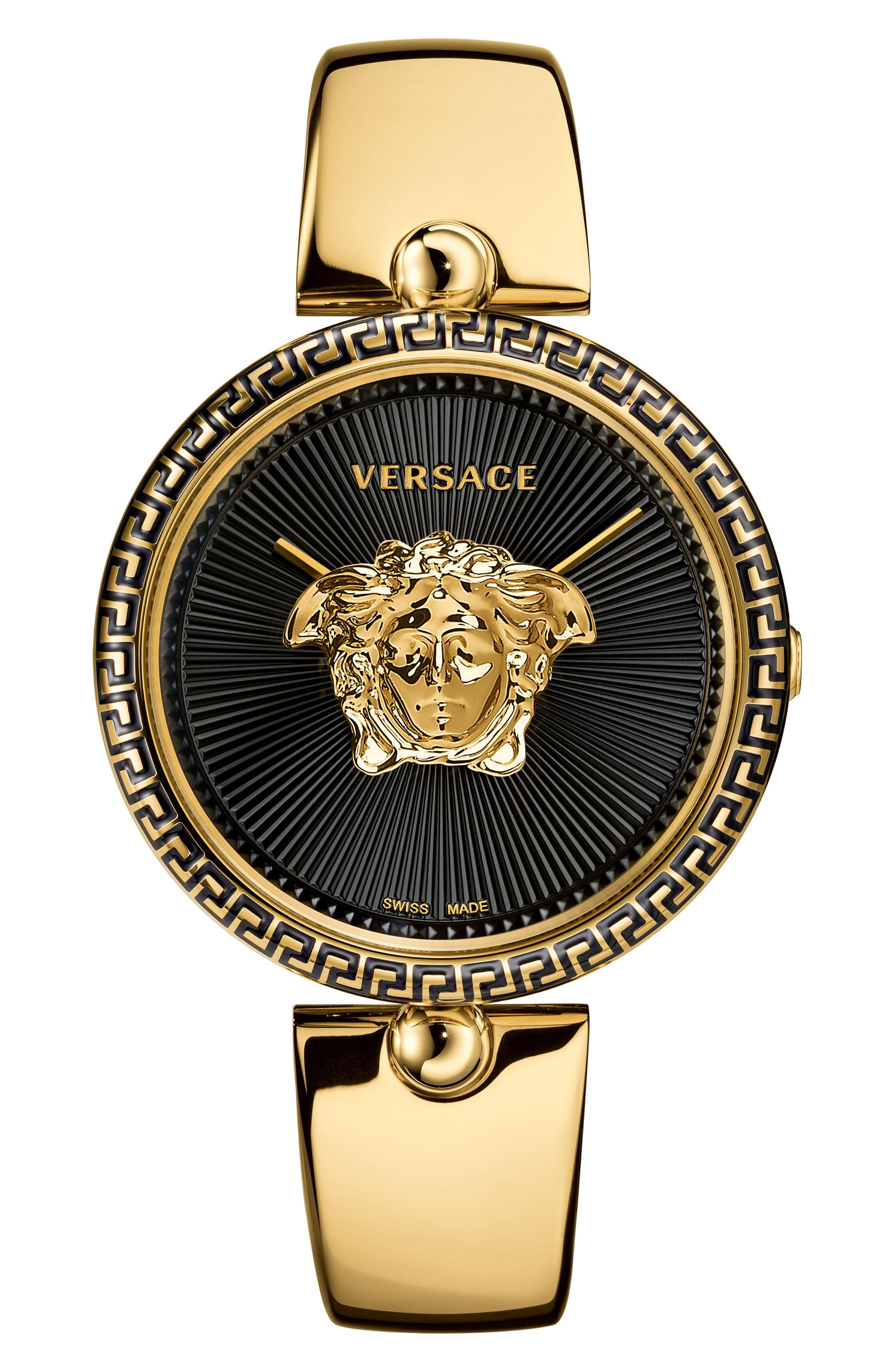 Palazzo Empire Semi Bangle Bracelet Watch, 39mm,                         Main,                         color, Gold/ Black/ Gold