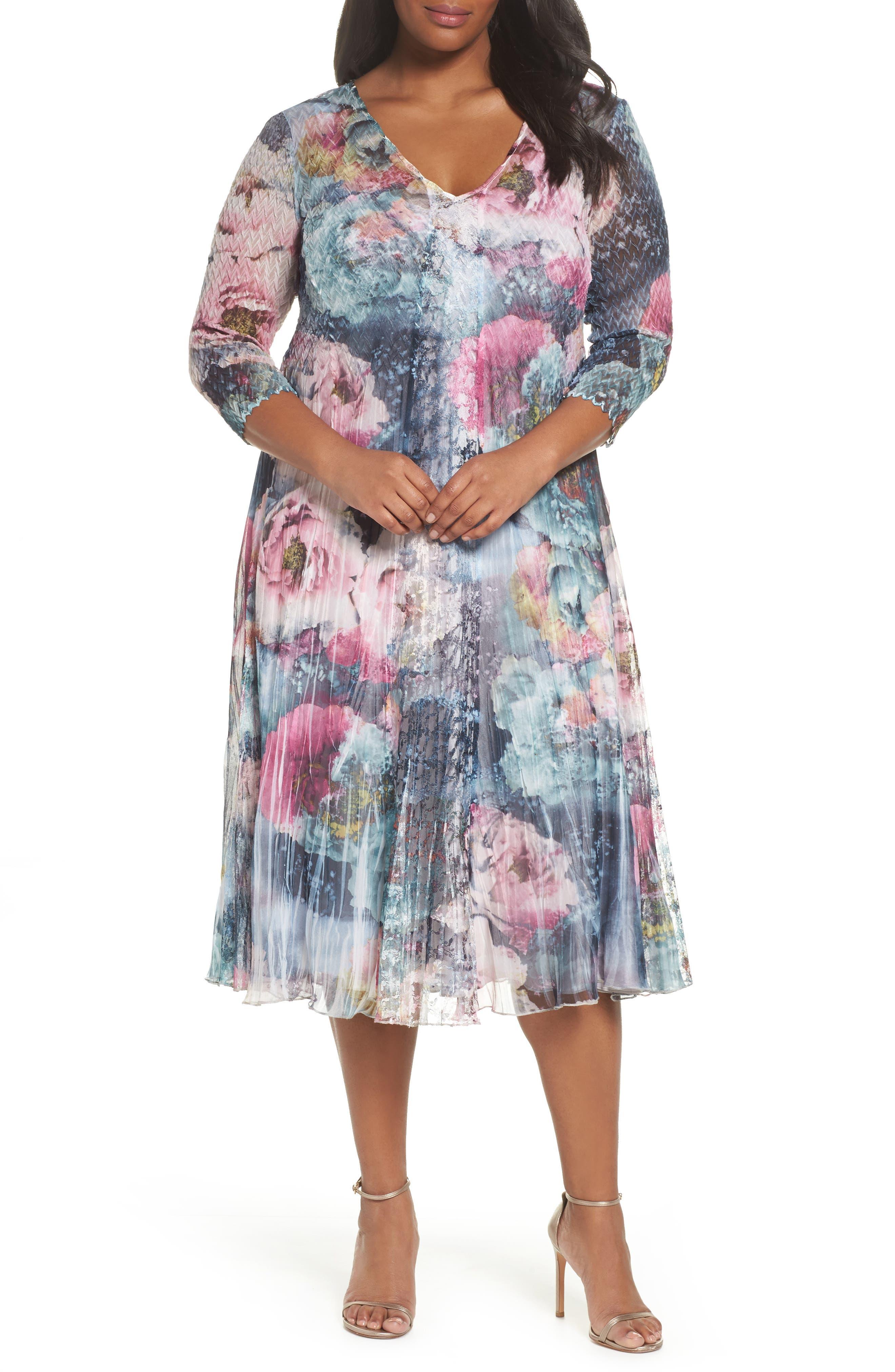 Dress Floral Chiffon & Lace Dress,                             Main thumbnail 1, color,                             Rapture Rose
