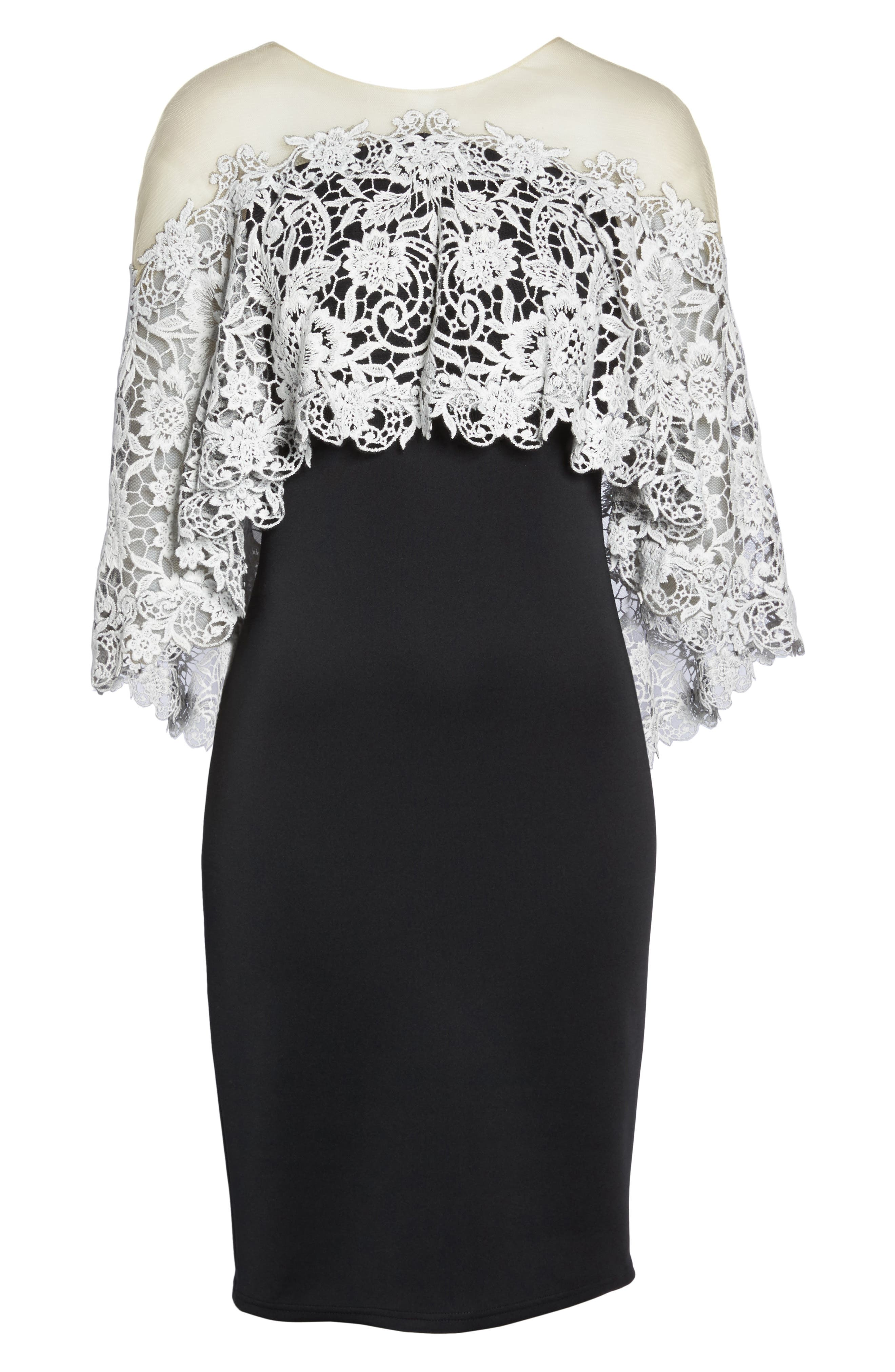 Illusion Neck Cape Dress,                             Alternate thumbnail 6, color,                             Black/ Ivory