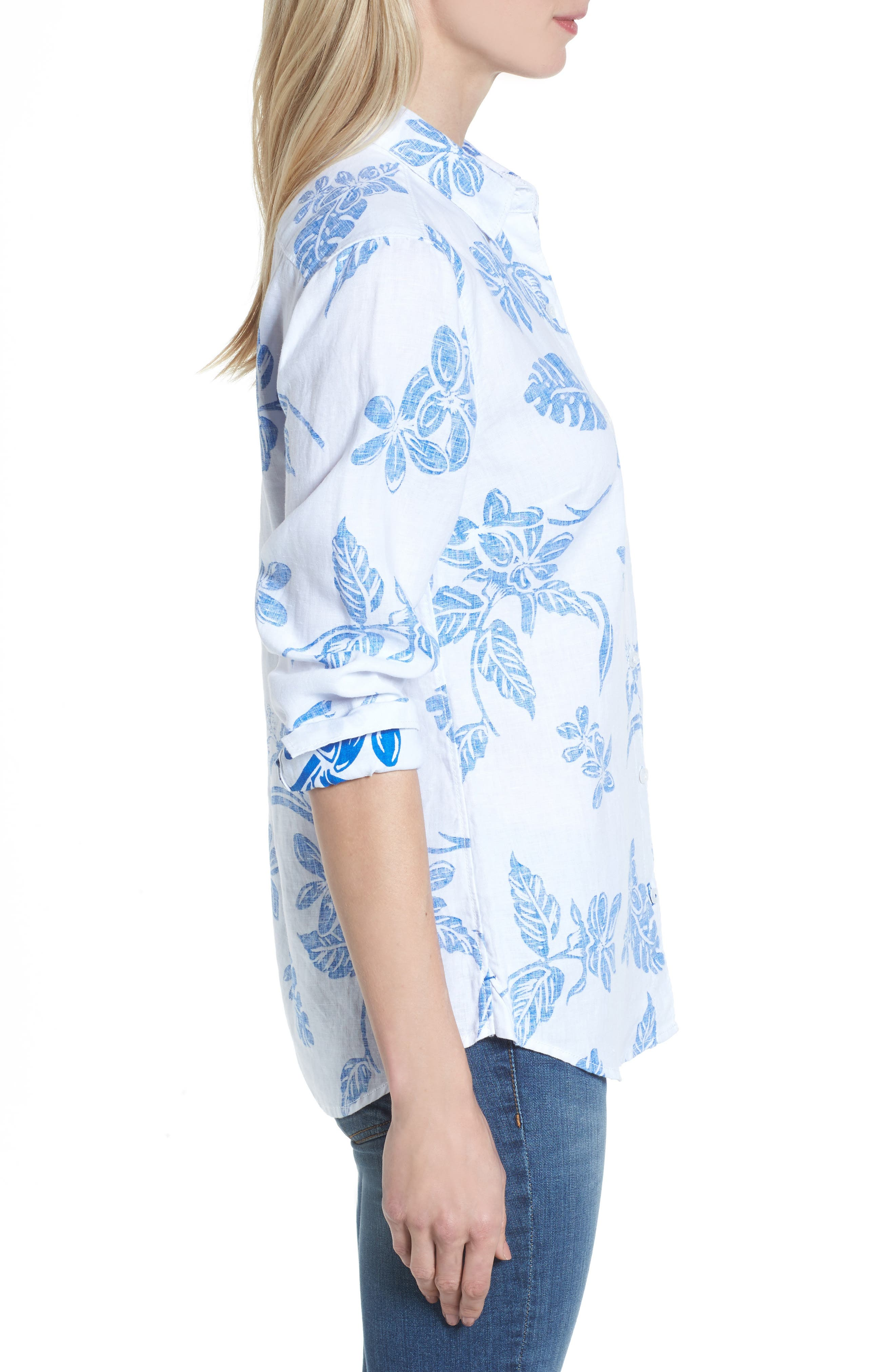 Hibiscus Hiatus Long Sleeve Top,                             Alternate thumbnail 3, color,                             White/ Cobalt