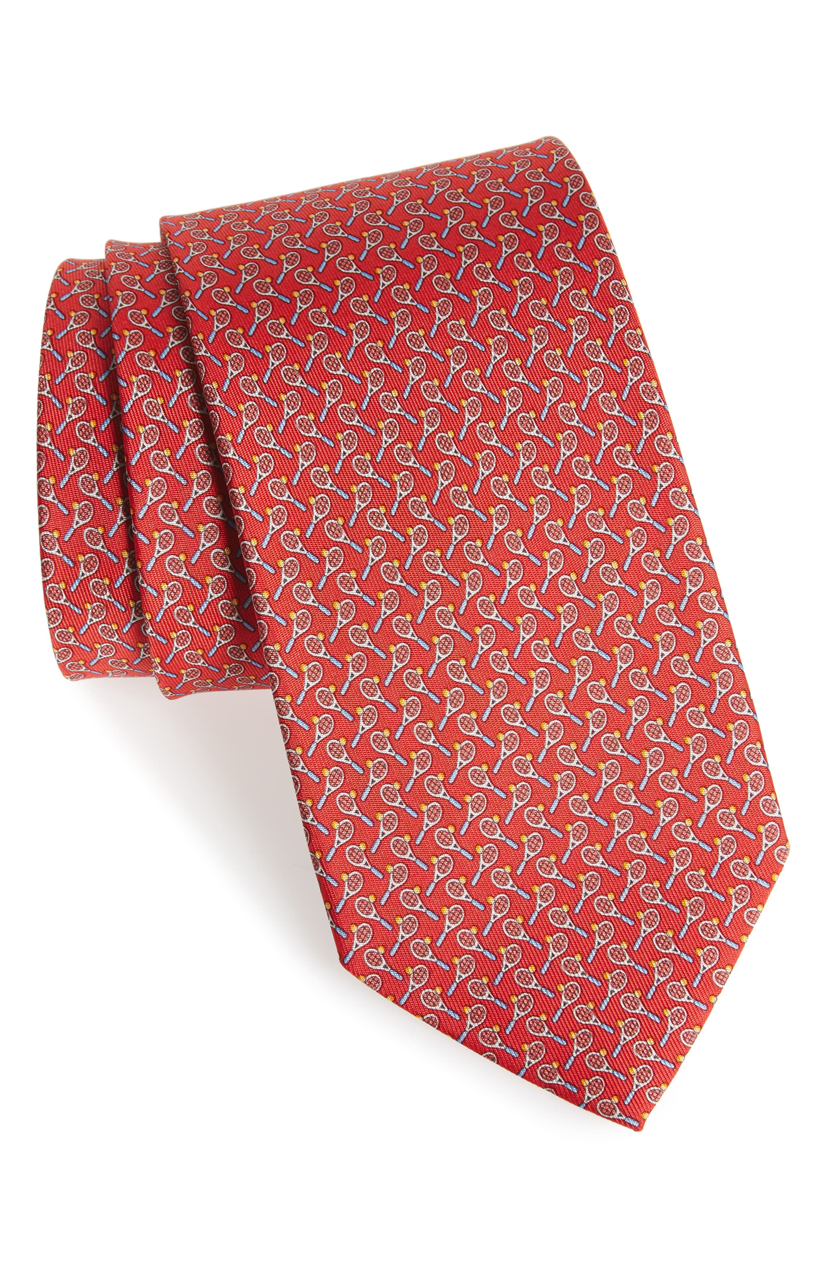 Emma Print Silk Tie,                             Main thumbnail 1, color,                             Red