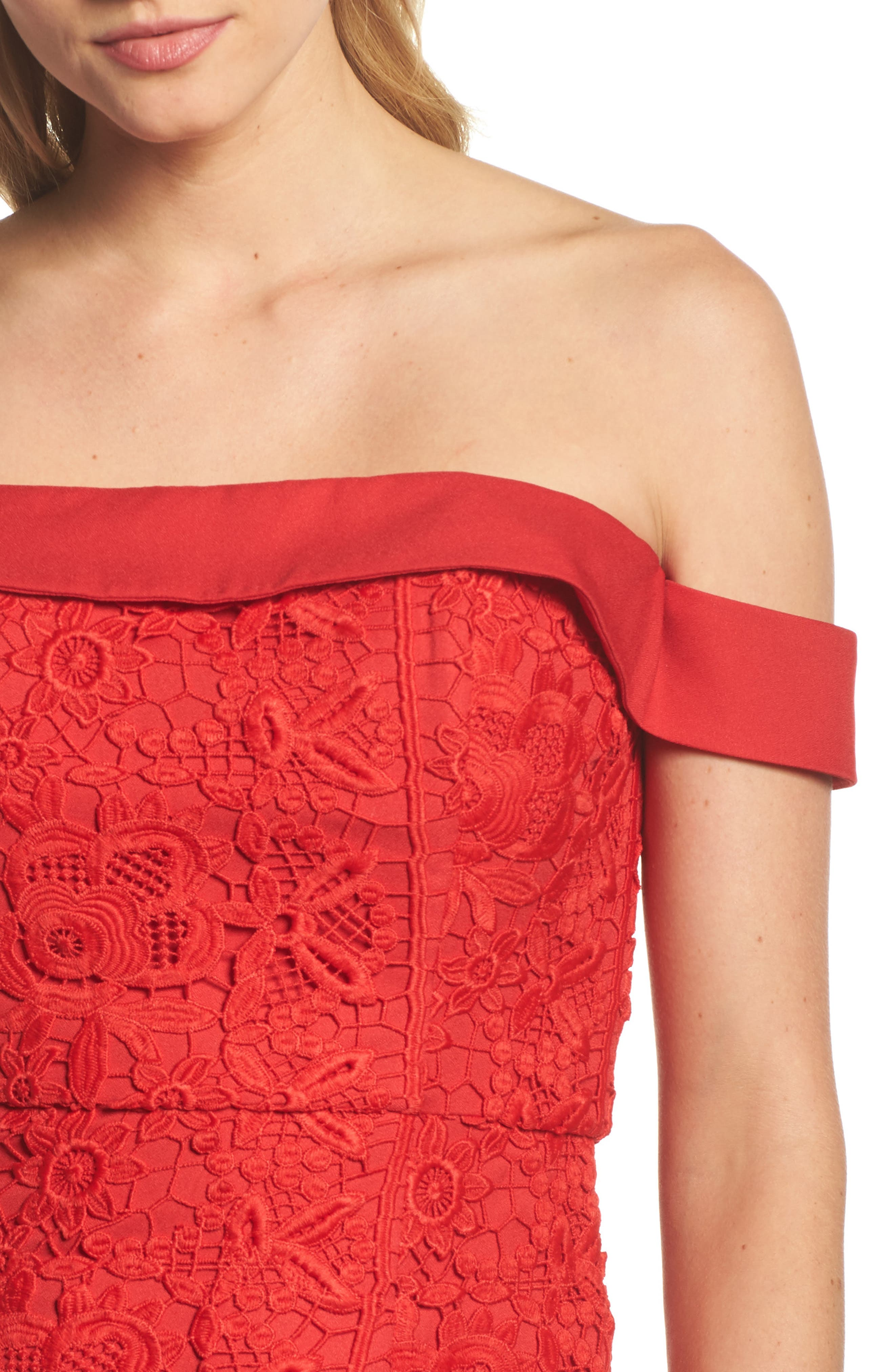 Talia Lace Off the Shoulder Midi Dress,                             Alternate thumbnail 4, color,                             Red