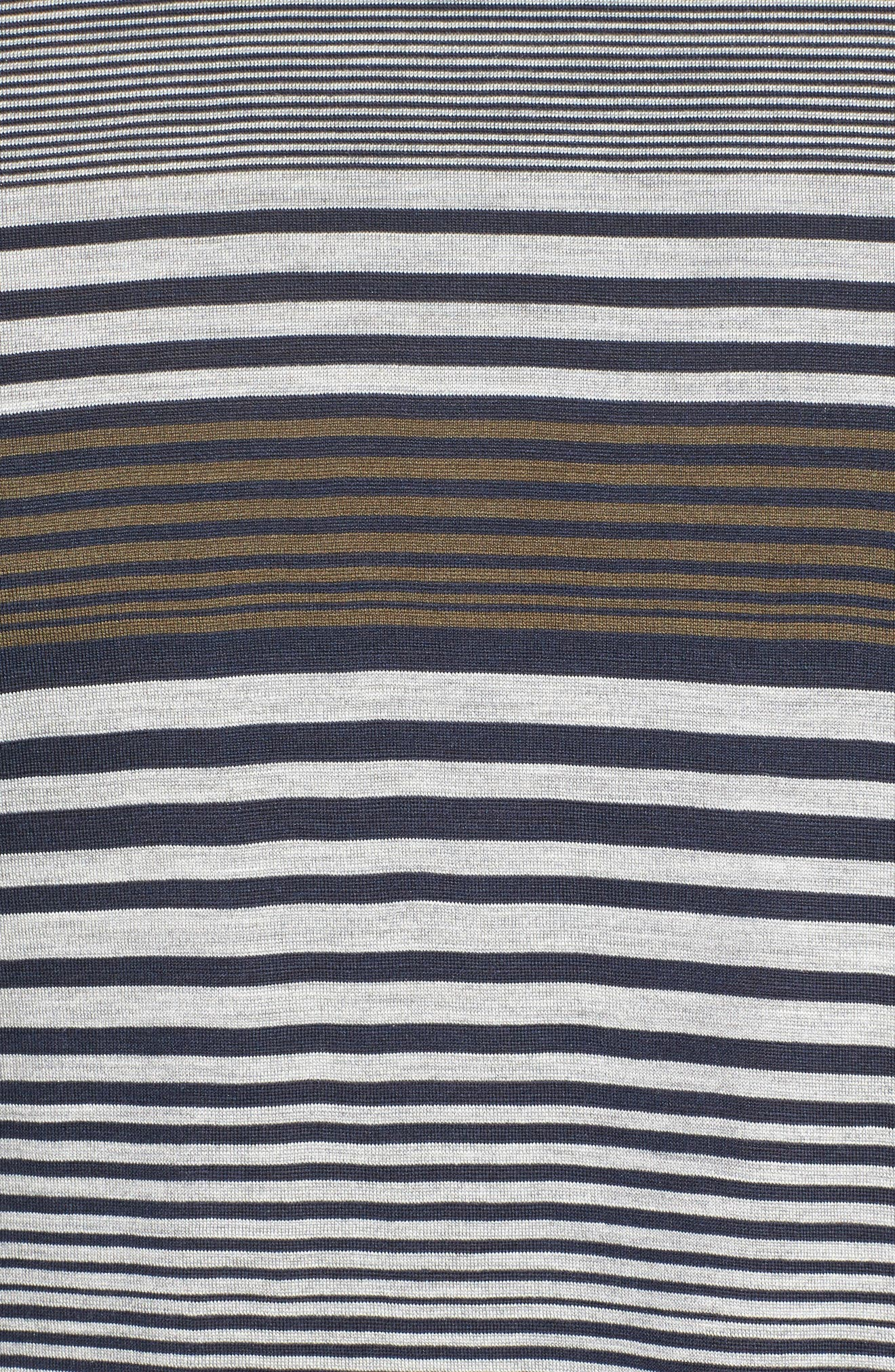Stripe Silk & Cotton T-Shirt,                             Alternate thumbnail 5, color,                             Midnight/ Grey/ Army