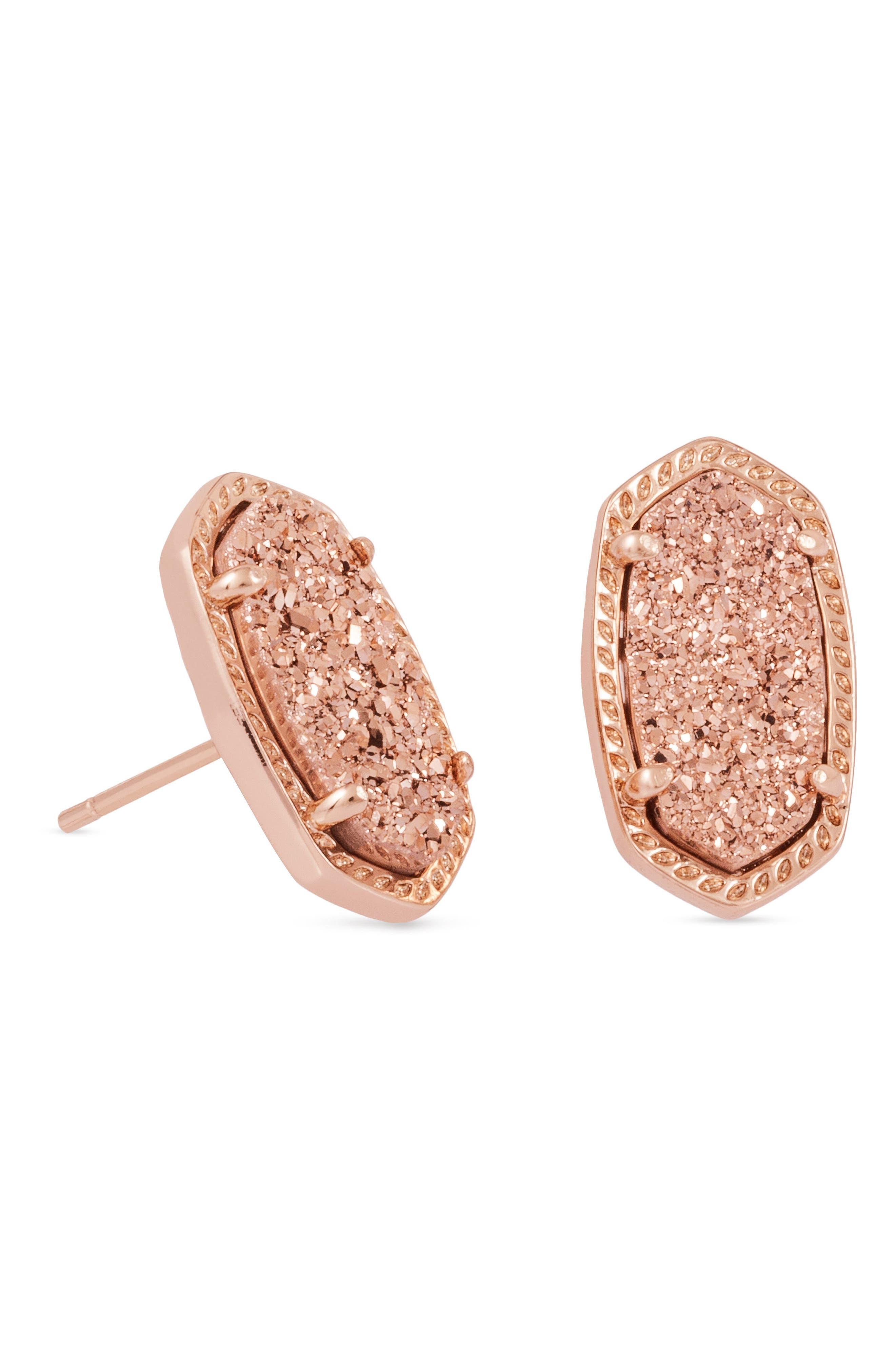 Ellie Oval Stone Stud Earrings,                             Alternate thumbnail 2, color,                             Rose Gold Drusy/ Rose Gold