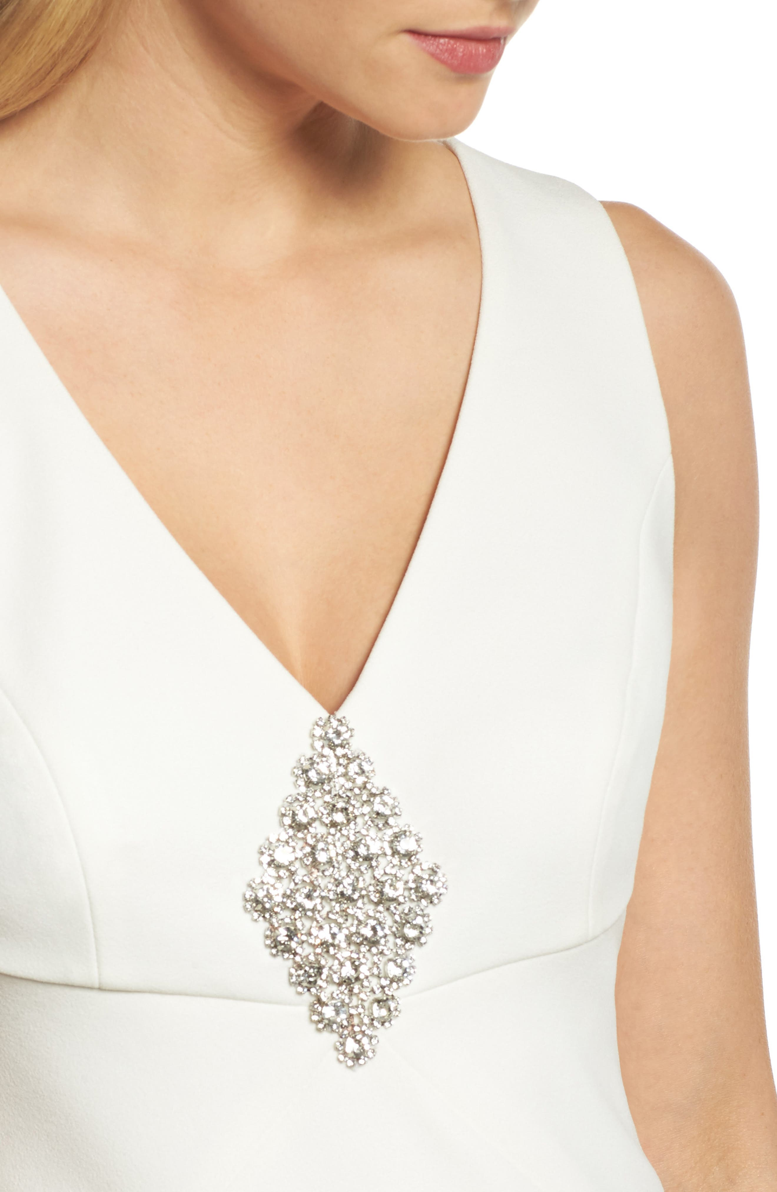 Embellished Scuba Crepe Gown,                             Alternate thumbnail 4, color,                             Ivory
