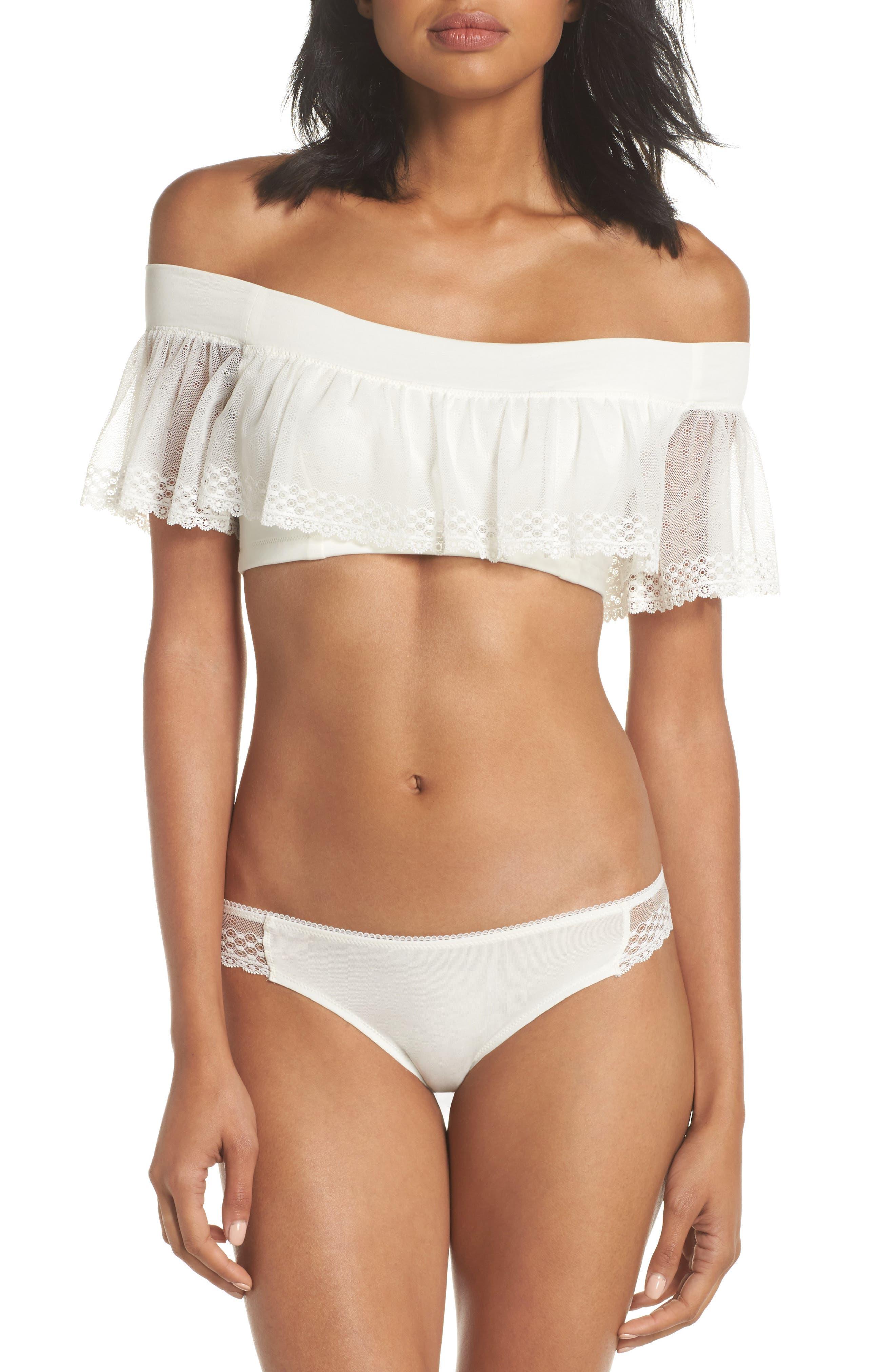 Organic Pima Cotton Blend Lace Bikini,                             Alternate thumbnail 5, color,                             White