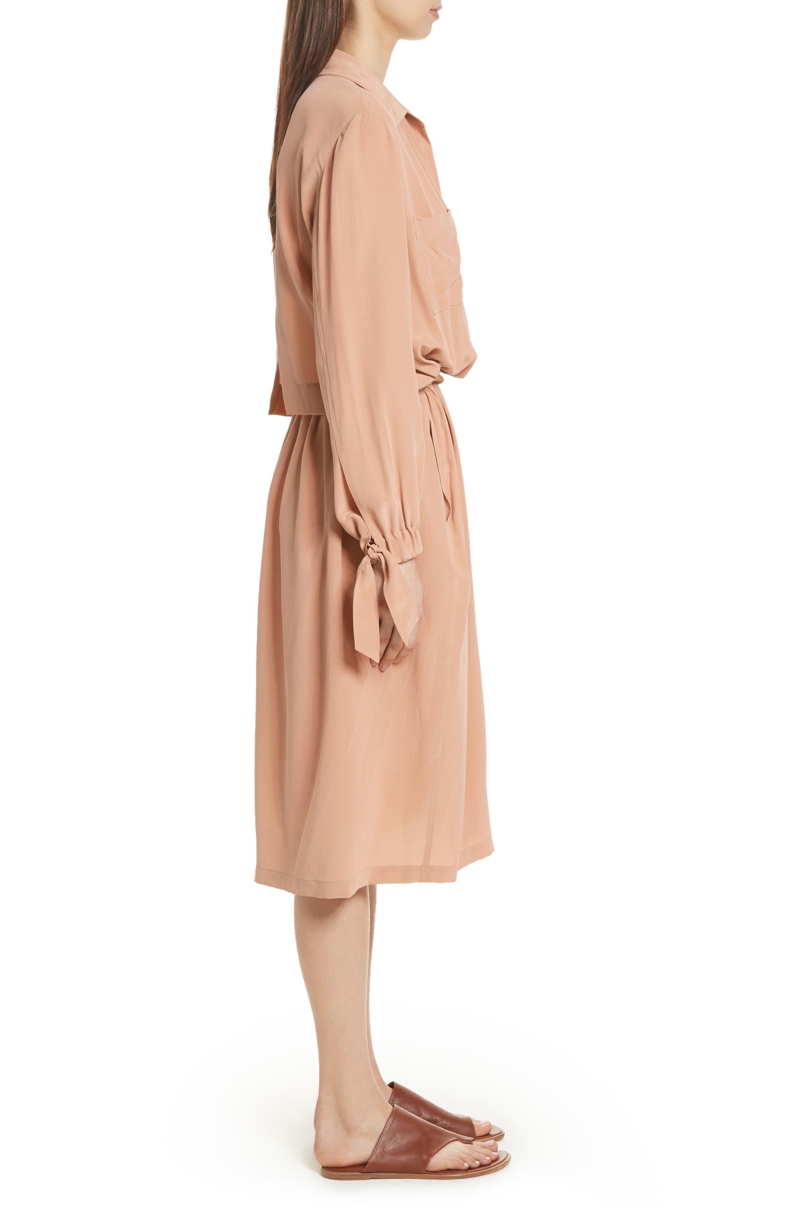 Silk Slit Back Shirtdress,                             Alternate thumbnail 4, color,                             Blush