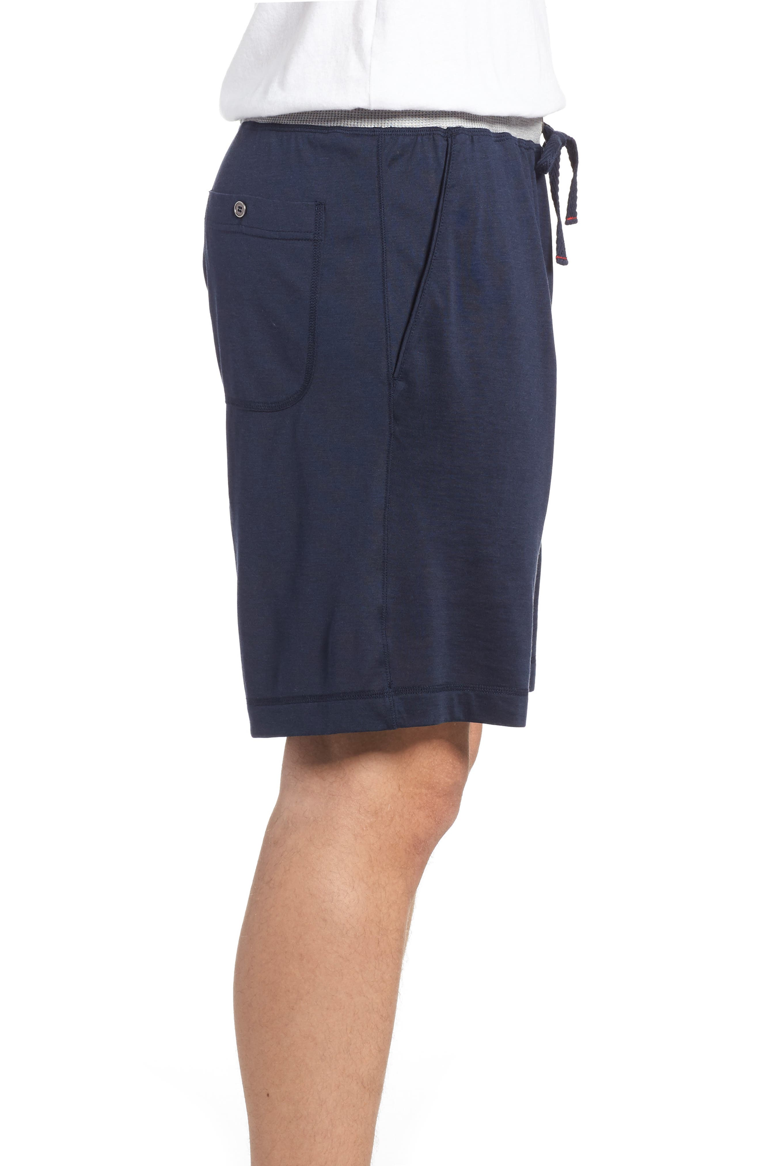 Silk & Cotton Lounge Shorts,                             Alternate thumbnail 3, color,                             Midnight