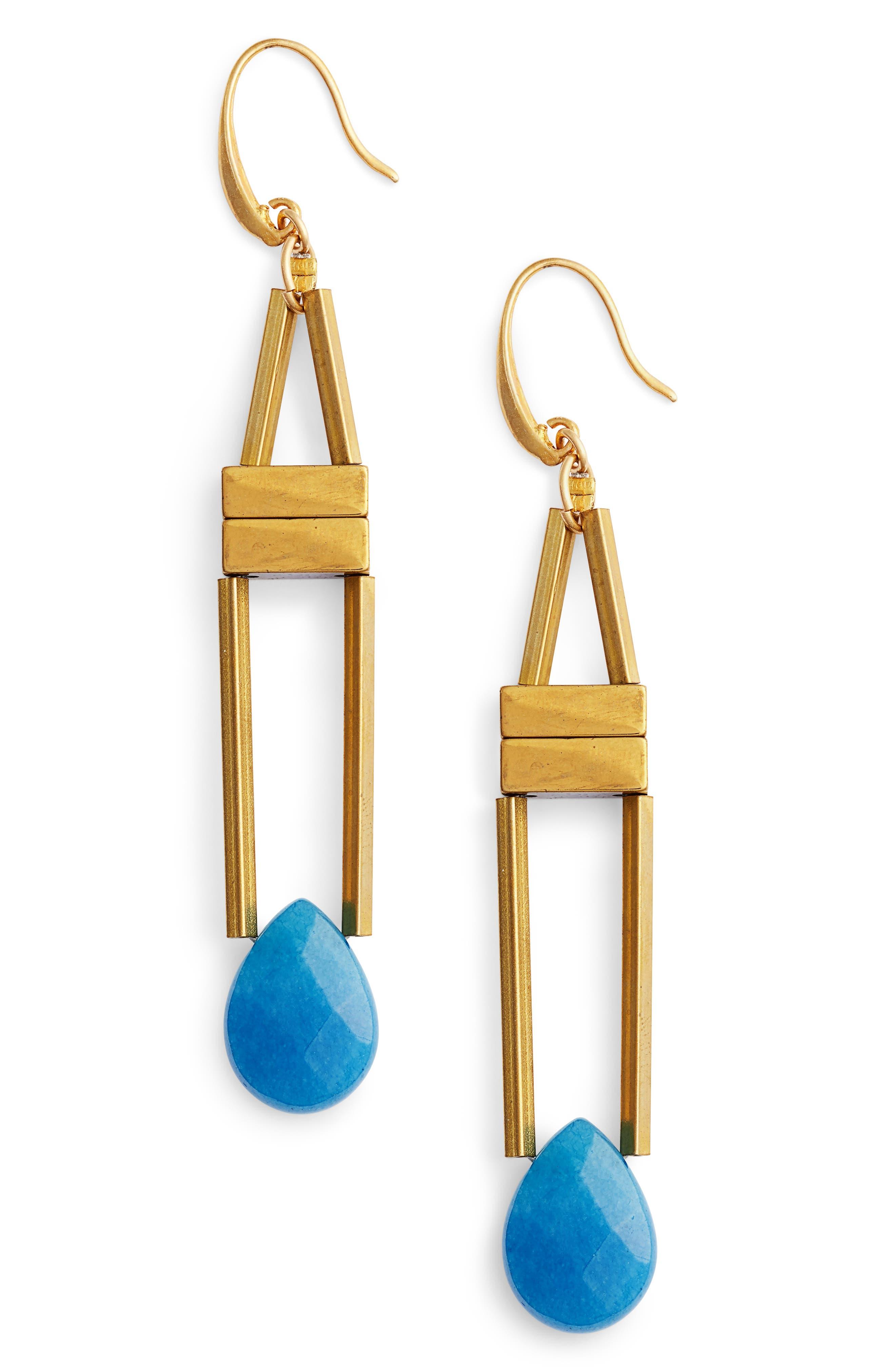 Rylee Beaded Tassel Earrings,                         Main,                         color, Blue/ Gold