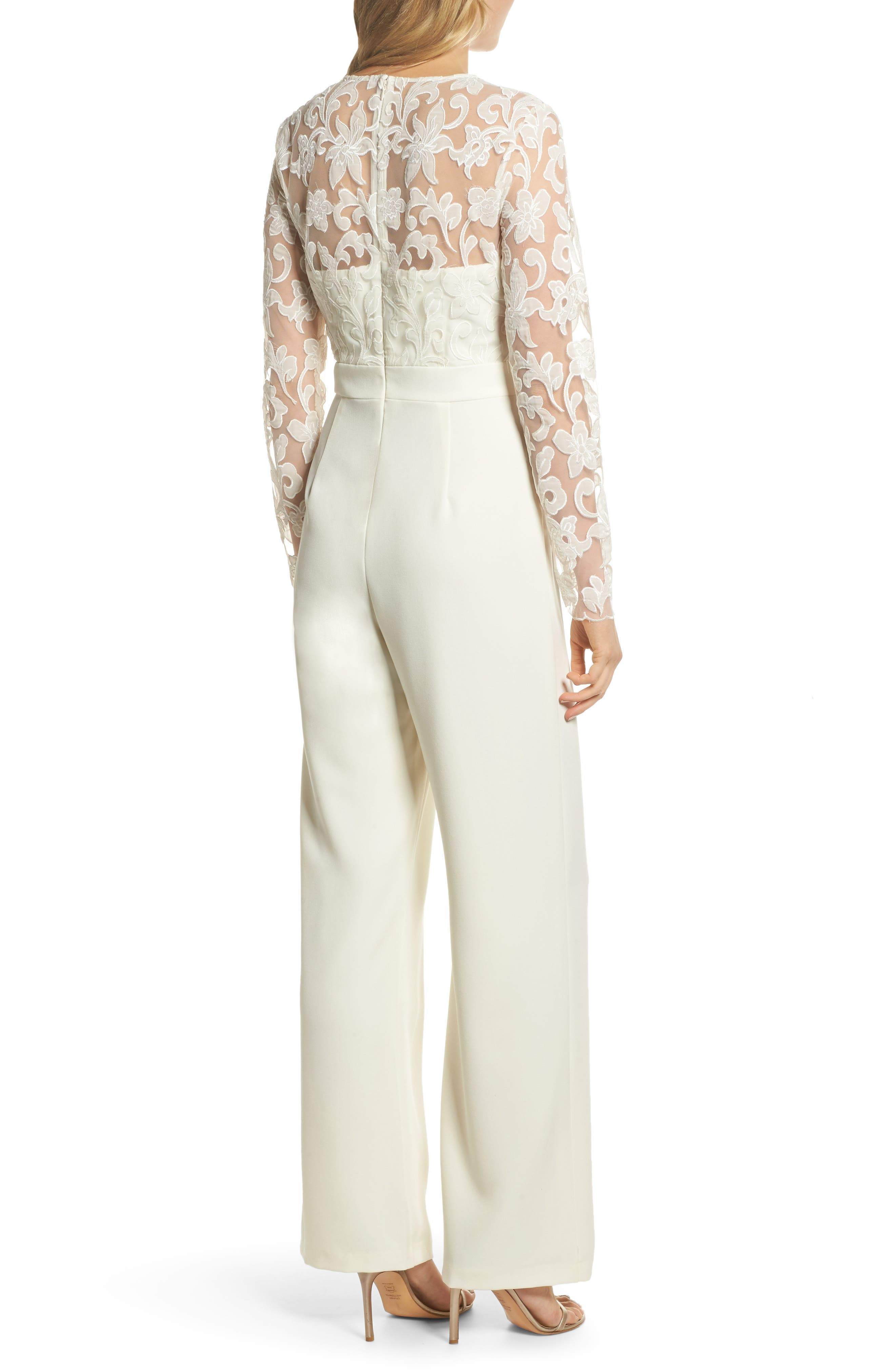 Embroidered Bodice Wide Leg Jumpsuit,                             Alternate thumbnail 2, color,                             Ivory