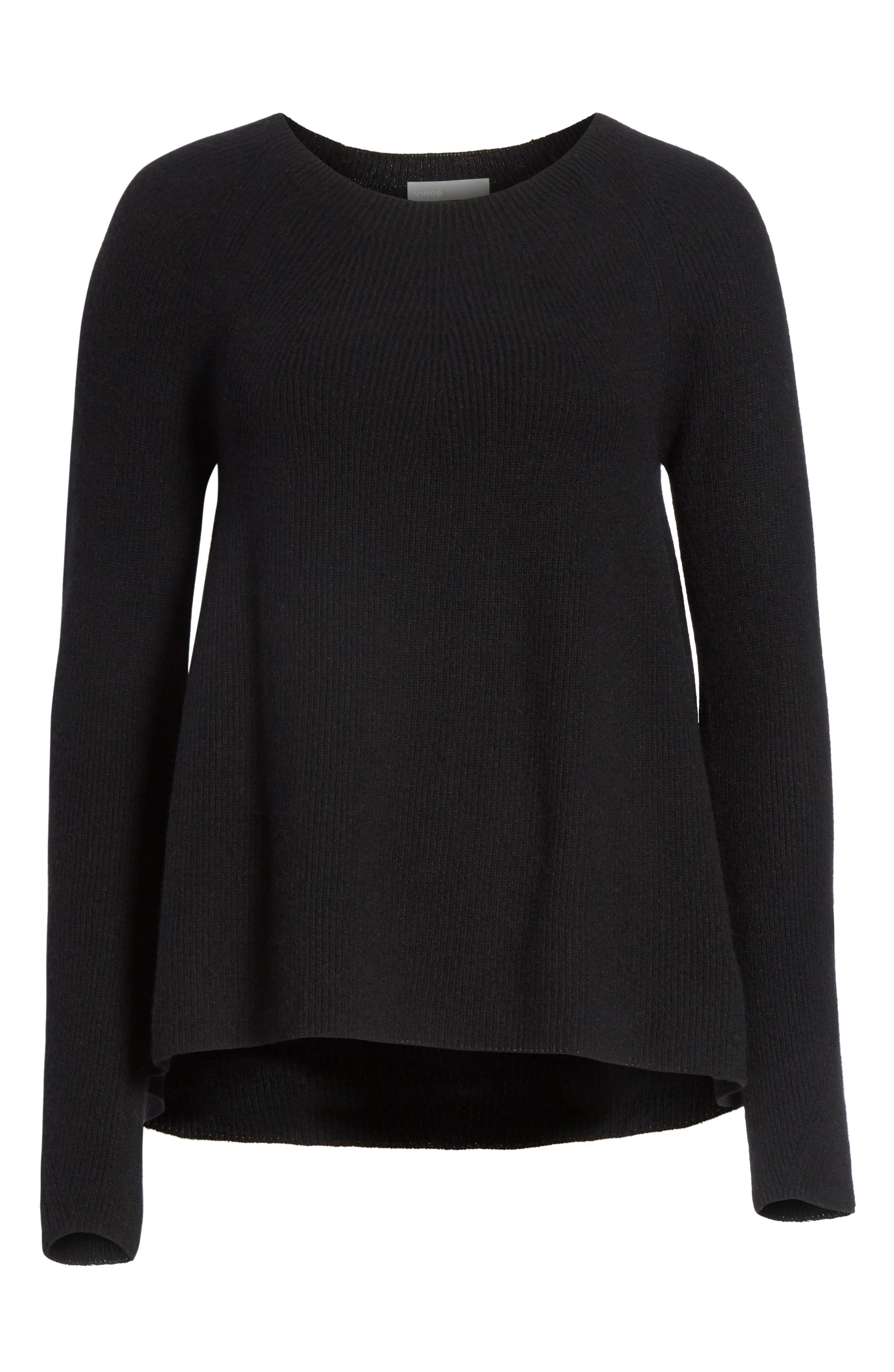 Ribbed Cashmere Sweater,                             Alternate thumbnail 6, color,                             Black