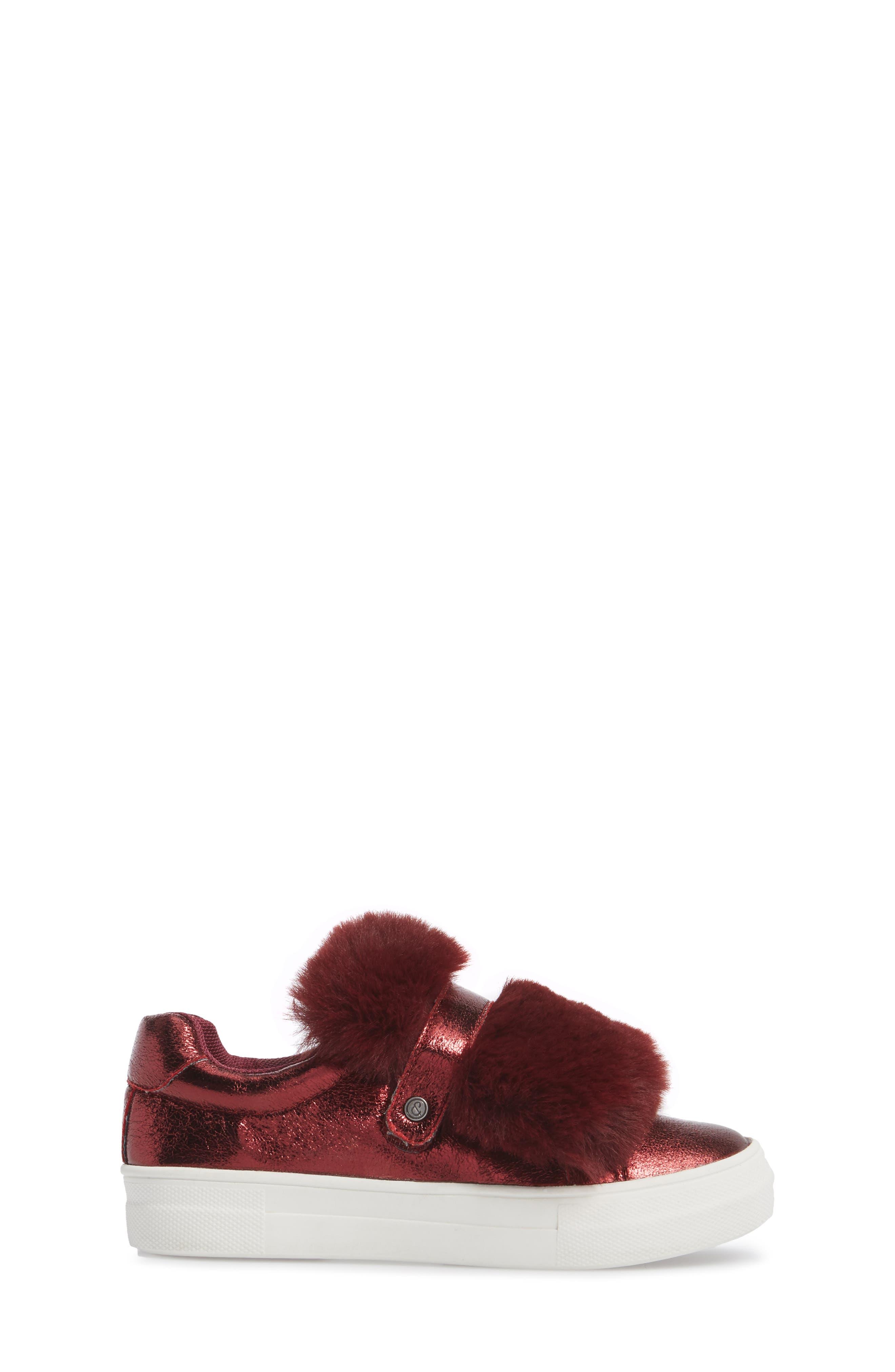 Zandra Faux Fur Metallic Sneaker,                             Alternate thumbnail 3, color,                             Burgundy Faux Leather