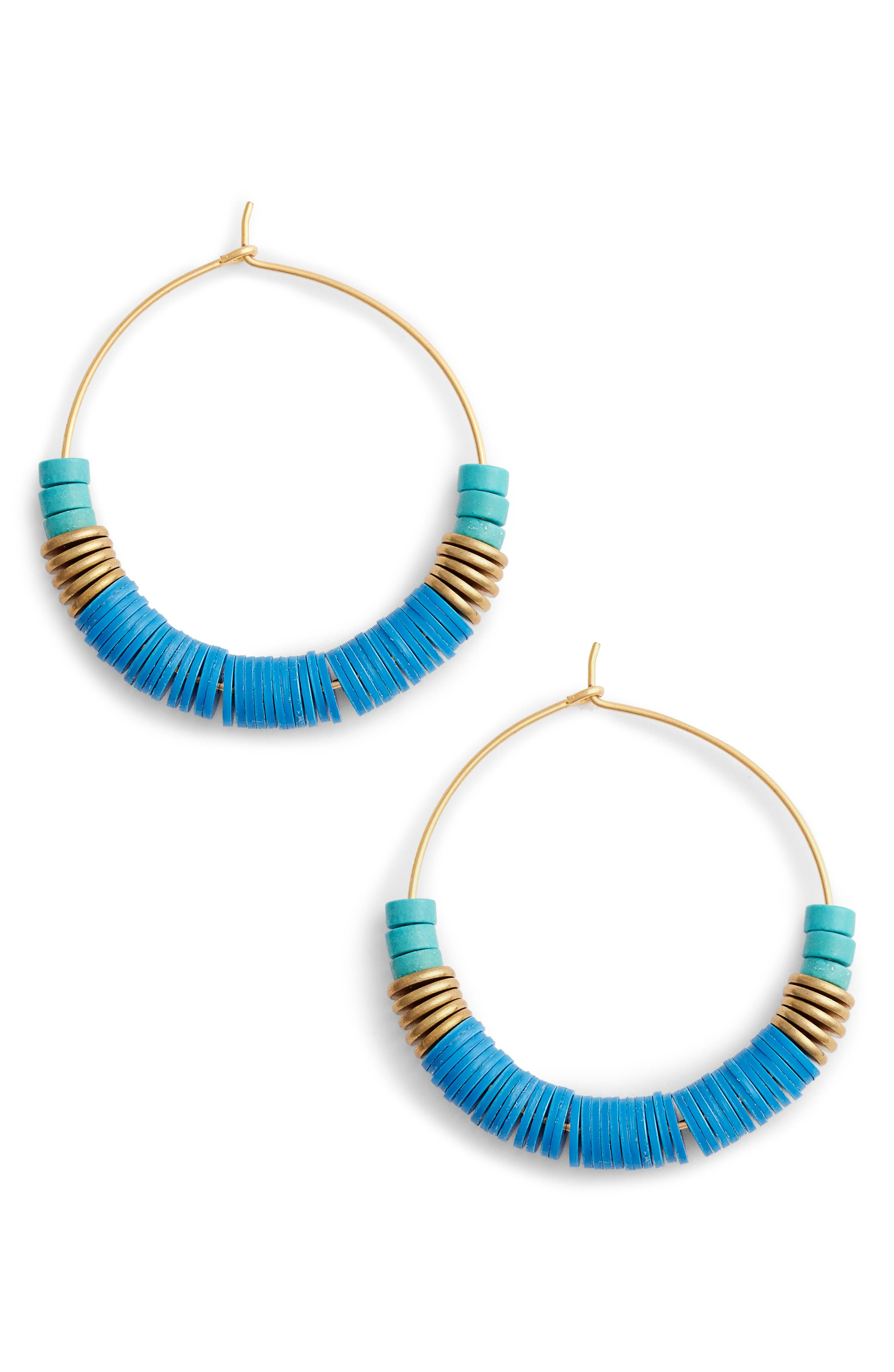 Rylee Hoop Earrings,                         Main,                         color, Blue/ Gold