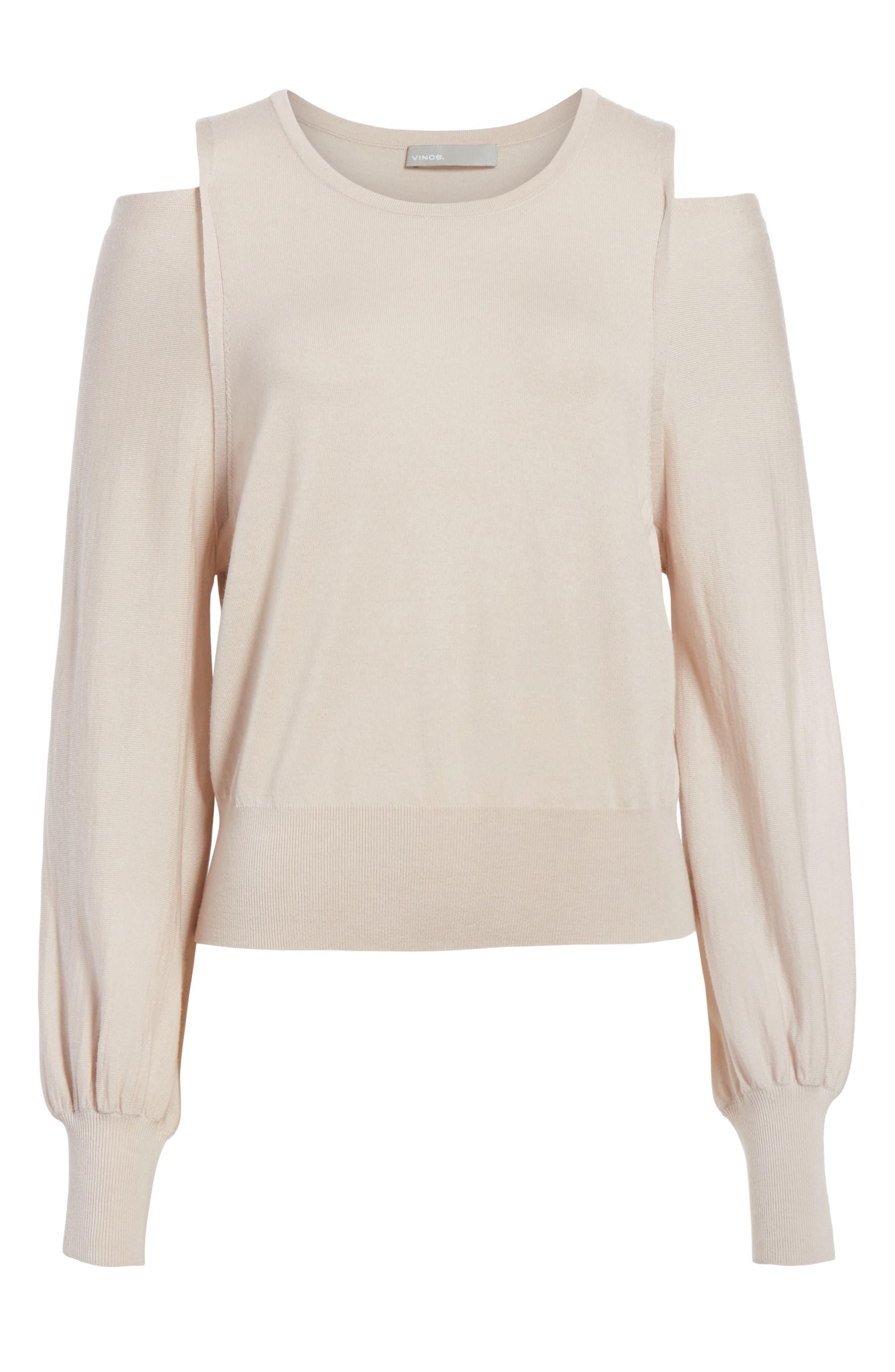 Wool Cold Shoulder Sweater,                             Alternate thumbnail 6, color,                             Sandstone