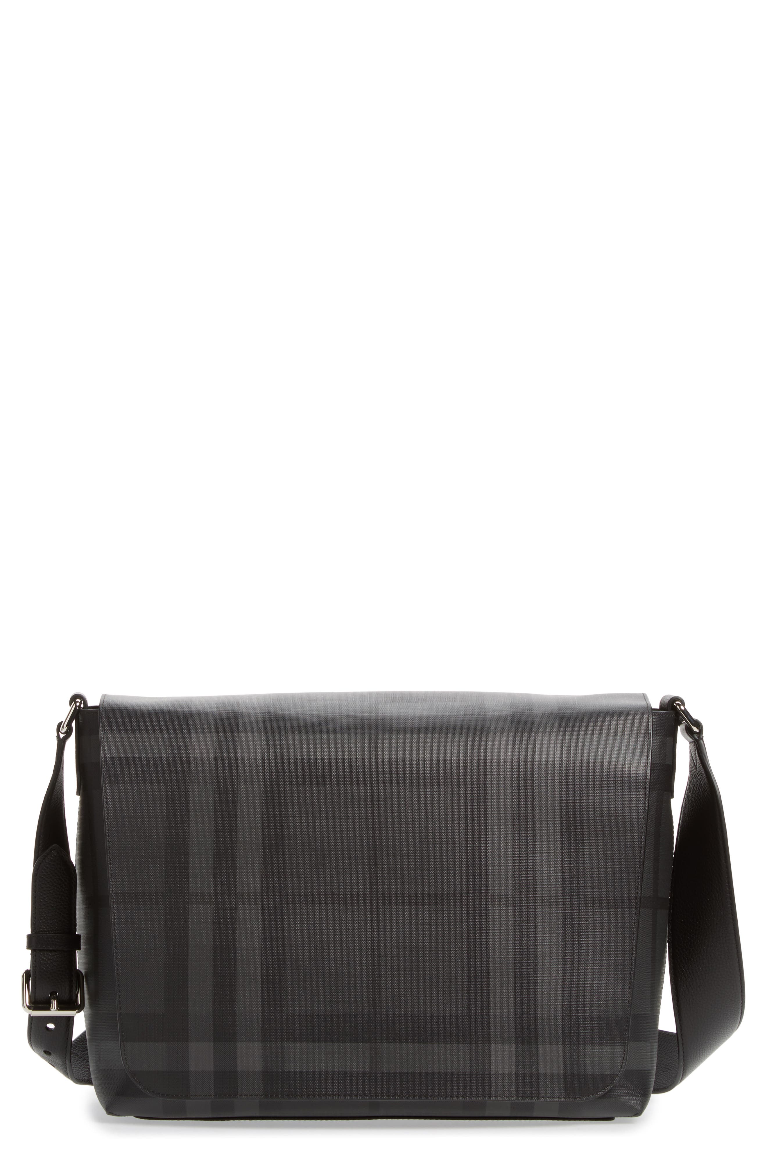 London Check Messenger Bag,                             Main thumbnail 1, color,                             Charcoal/ Black