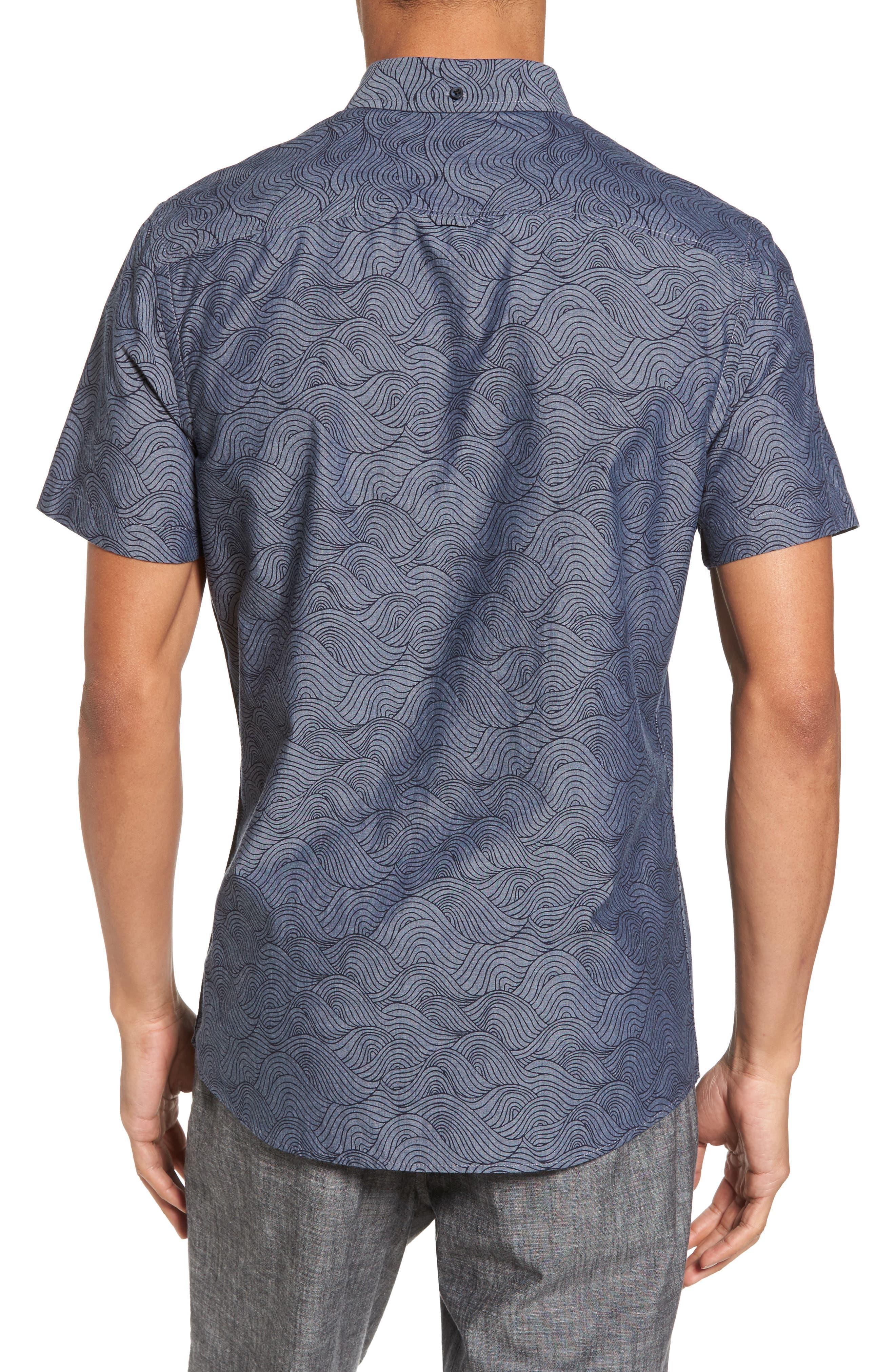 Trim Fit Ivy Print Sport Shirt,                             Alternate thumbnail 2, color,                             Grey Onyx Rolling Waves