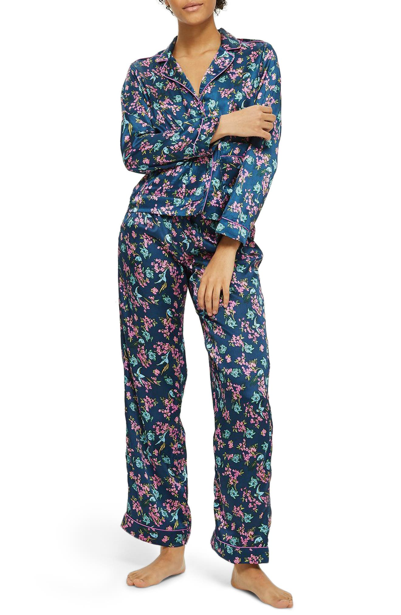 Bird Satin Pajamas,                             Main thumbnail 1, color,                             Blue Multi