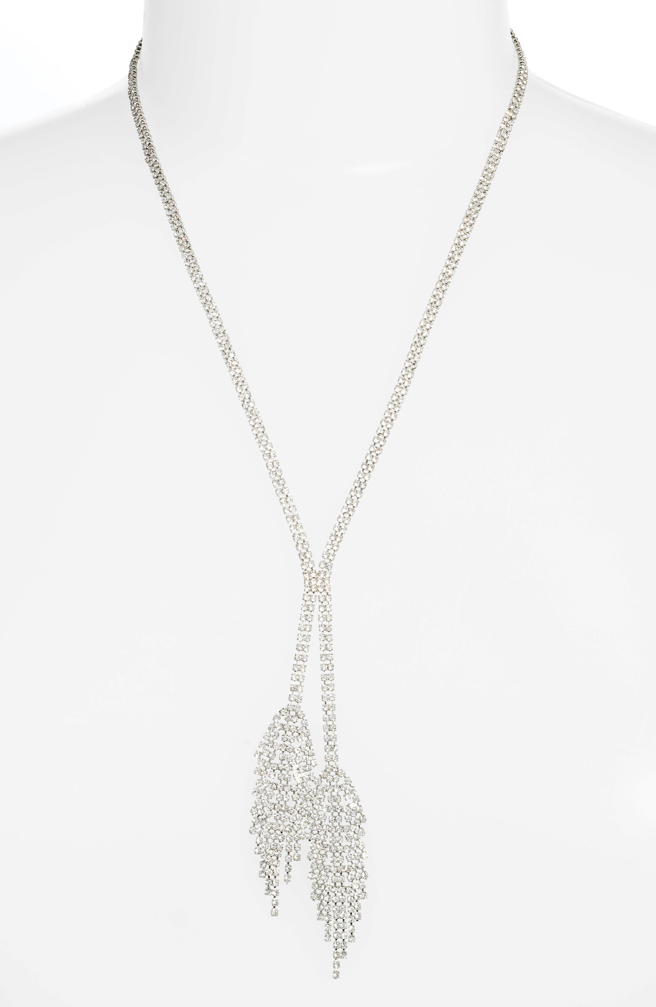 Double Fringe Crystal Y-Necklace,                             Main thumbnail 1, color,                             Silver