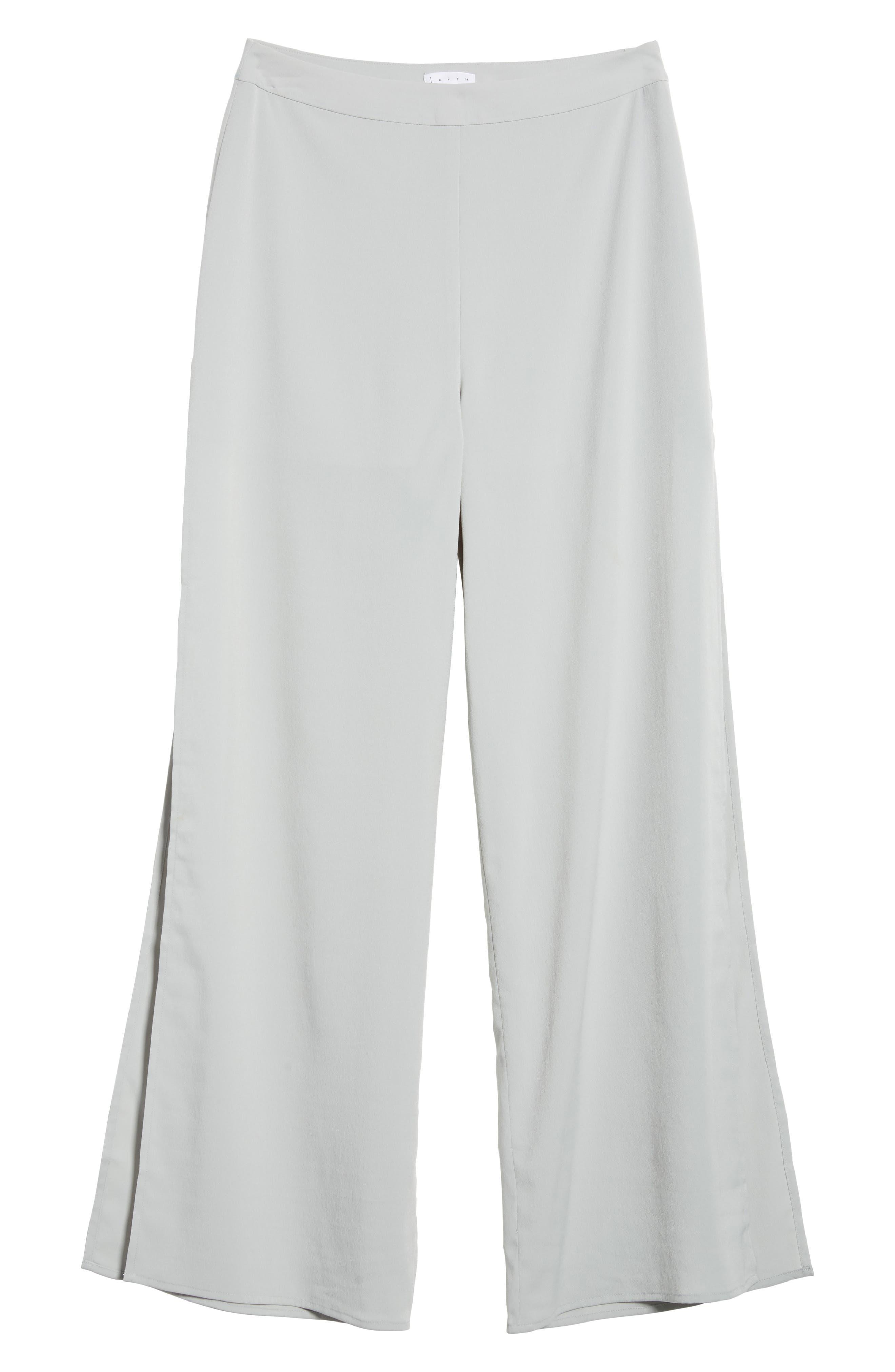 High Waist Side Slit Wide Leg Pants,                             Alternate thumbnail 7, color,                             Blue Pearl