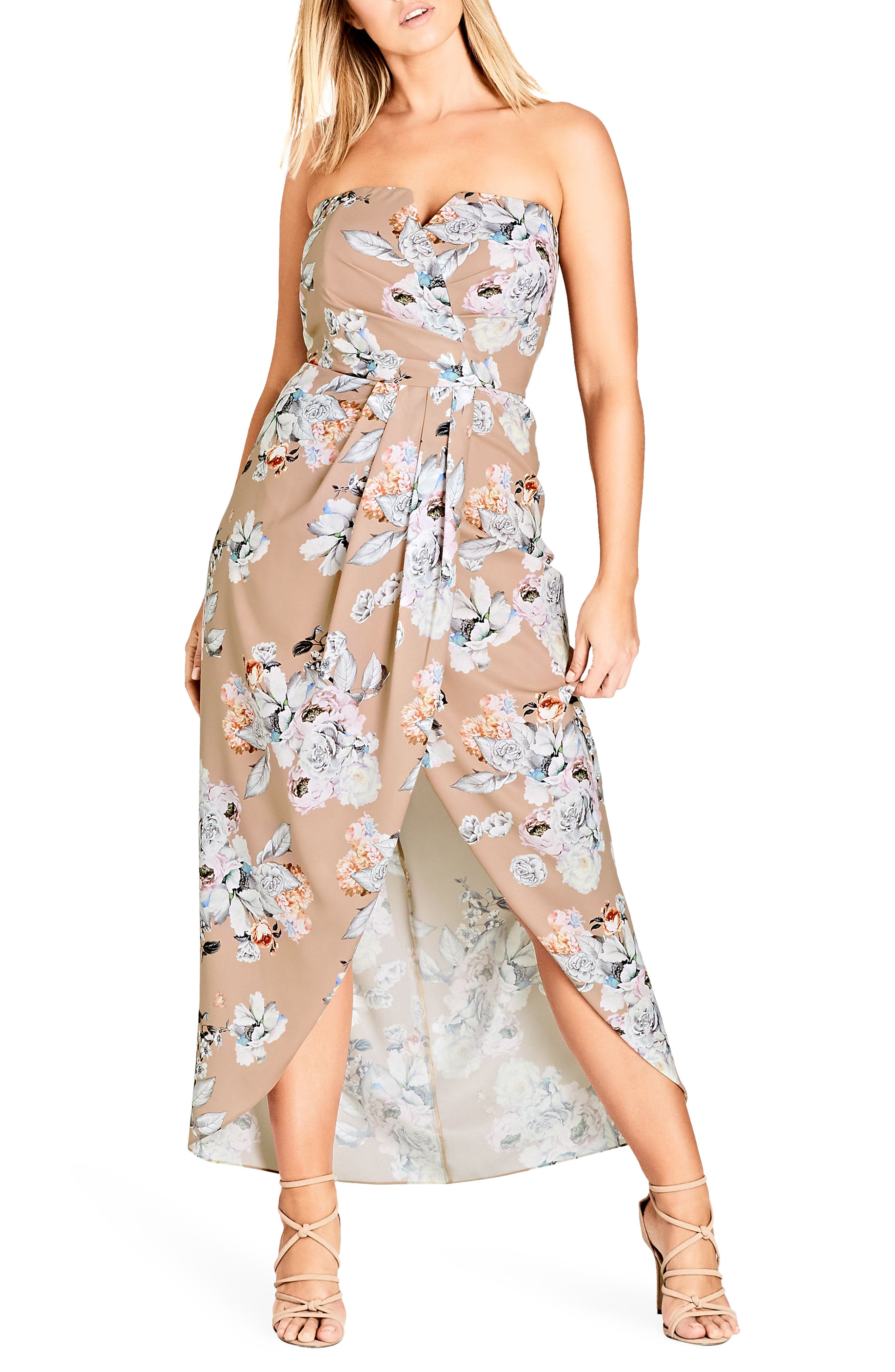 Paper Floral Print Maxi Dress,                         Main,                         color, Paper Floral