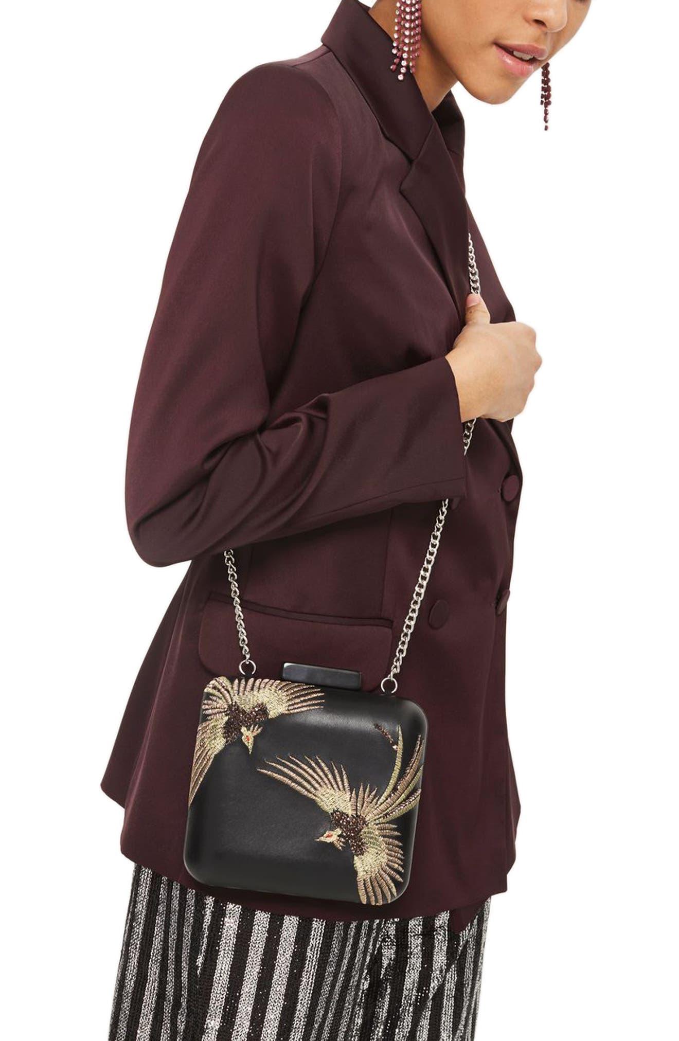 Embroidered Bird Boxy Leather Crossbody Bag,                             Alternate thumbnail 2, color,                             Black Multi