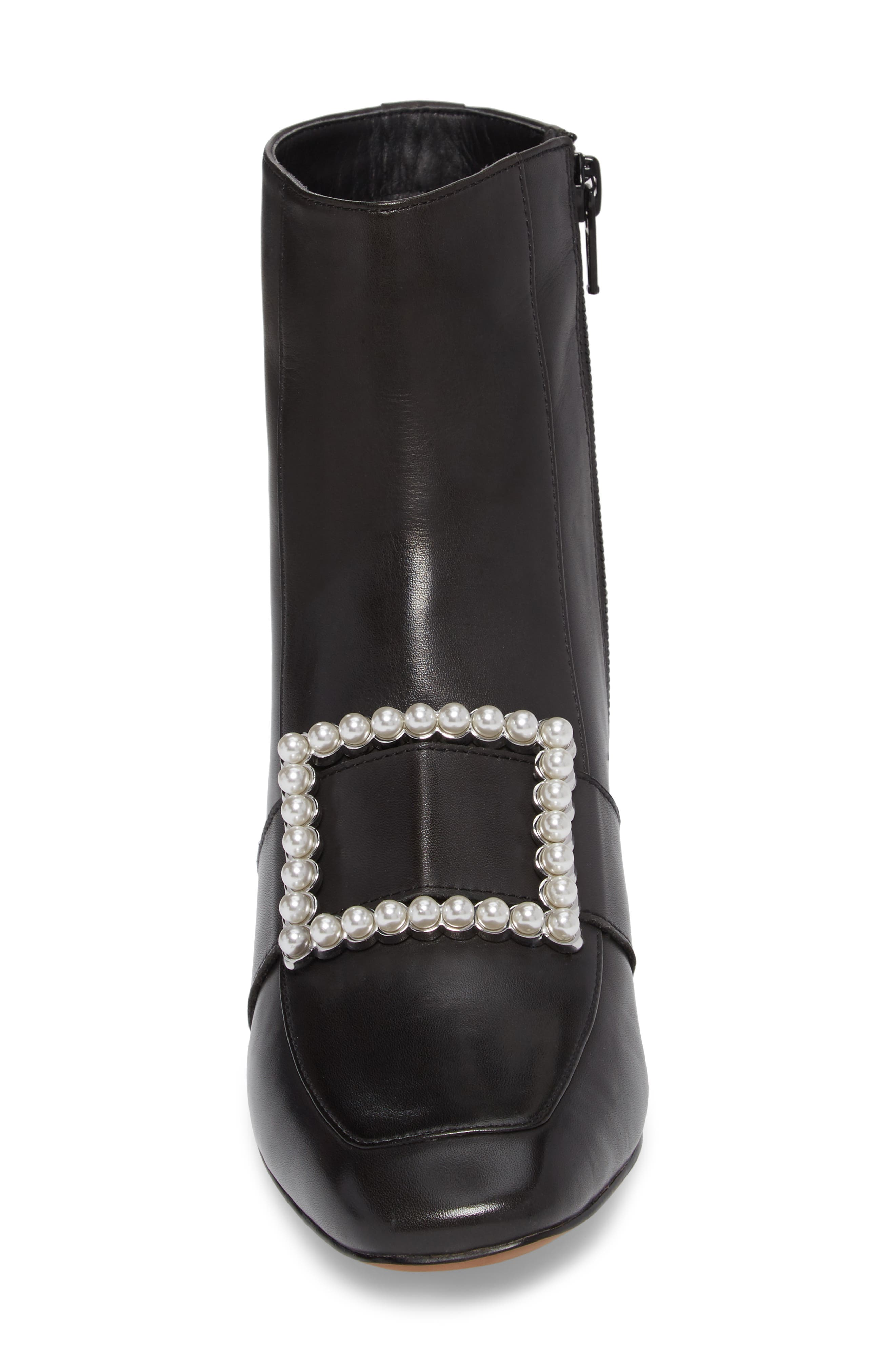 Cadence Buckle Bootie,                             Alternate thumbnail 4, color,                             Black Leather