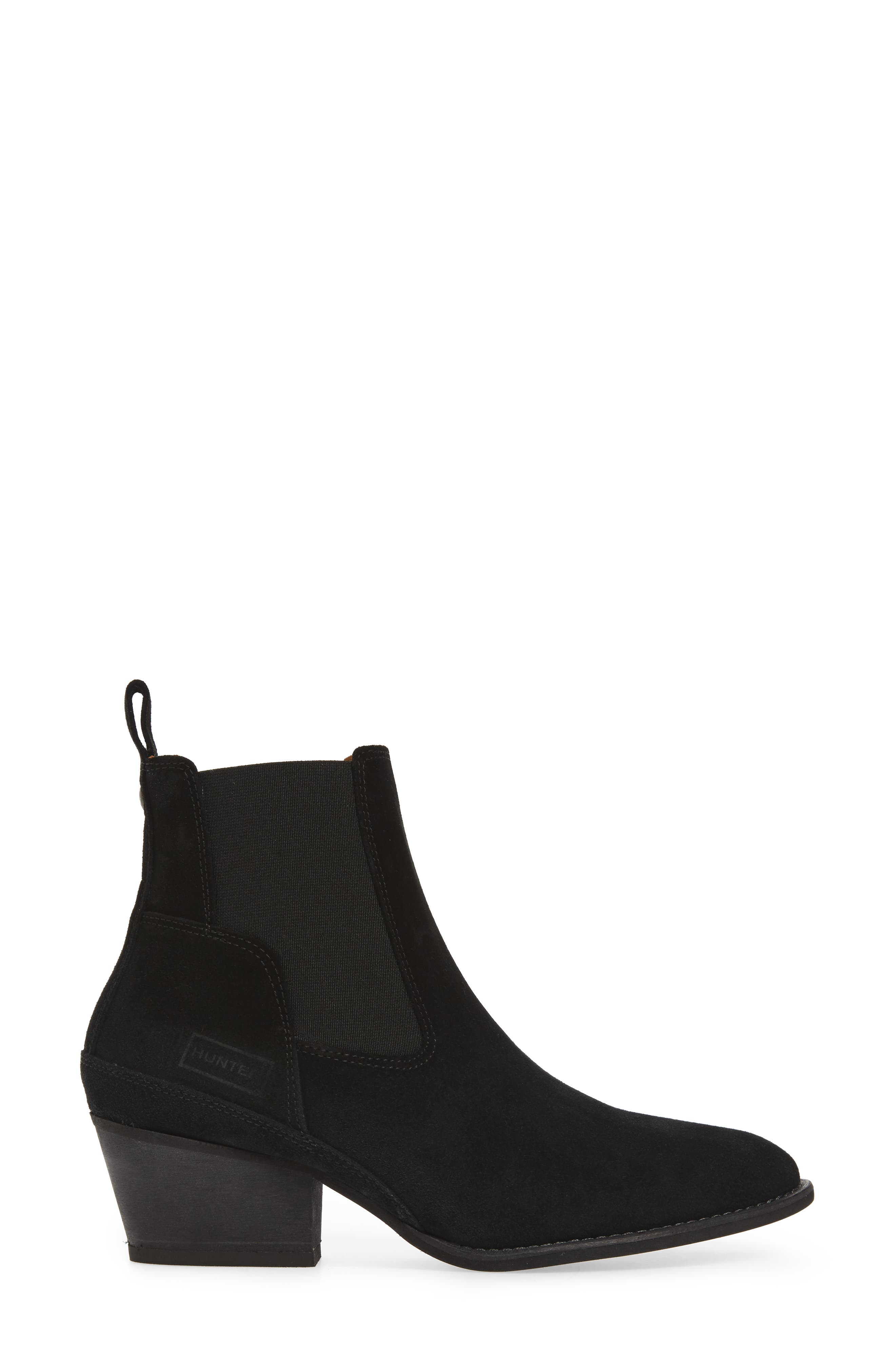 Original Refined Water Resistant Chelsea Boot,                             Alternate thumbnail 3, color,                             Black Suede