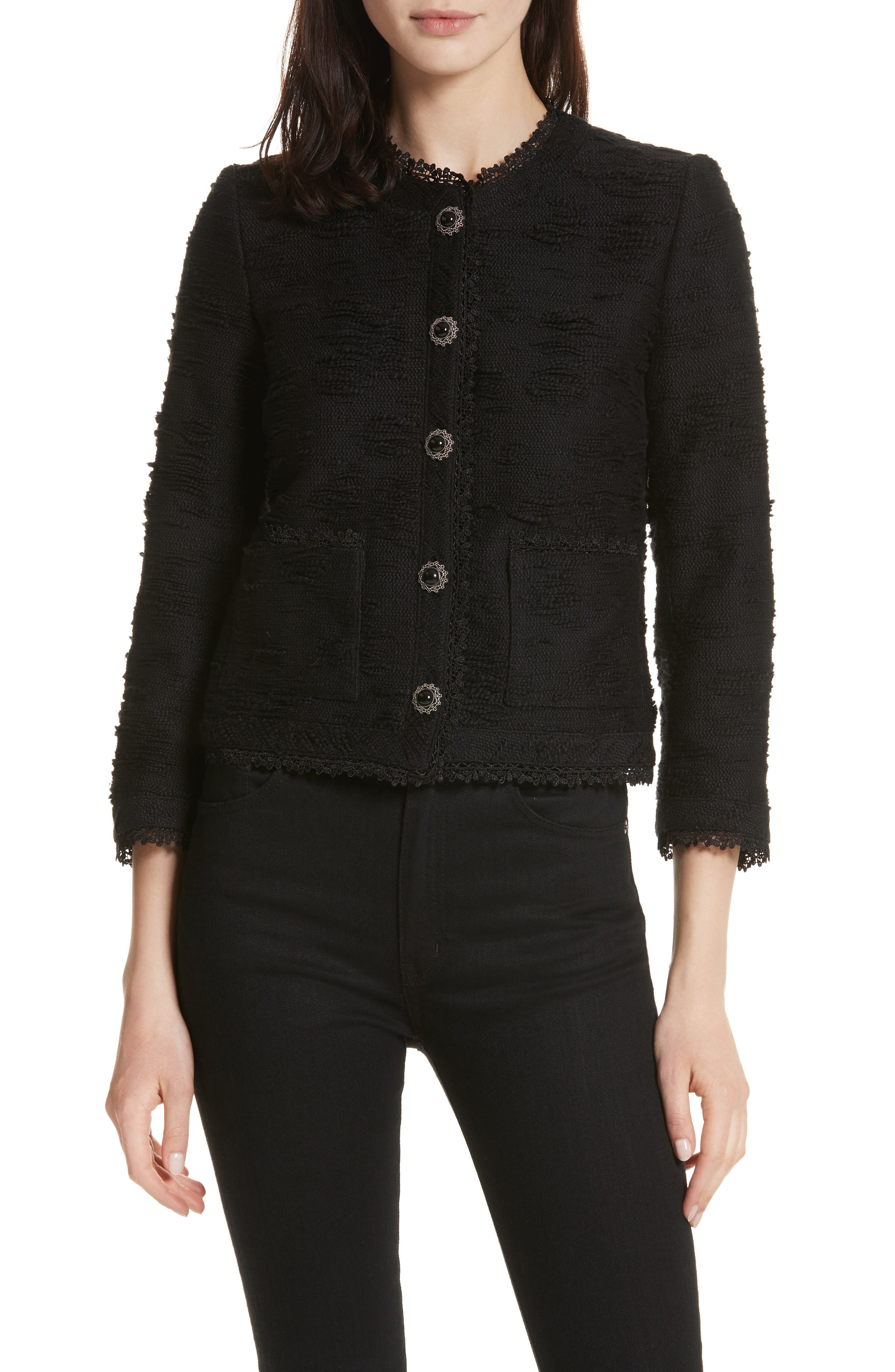 Lace Trim Boxy Jacket,                             Main thumbnail 1, color,                             Black