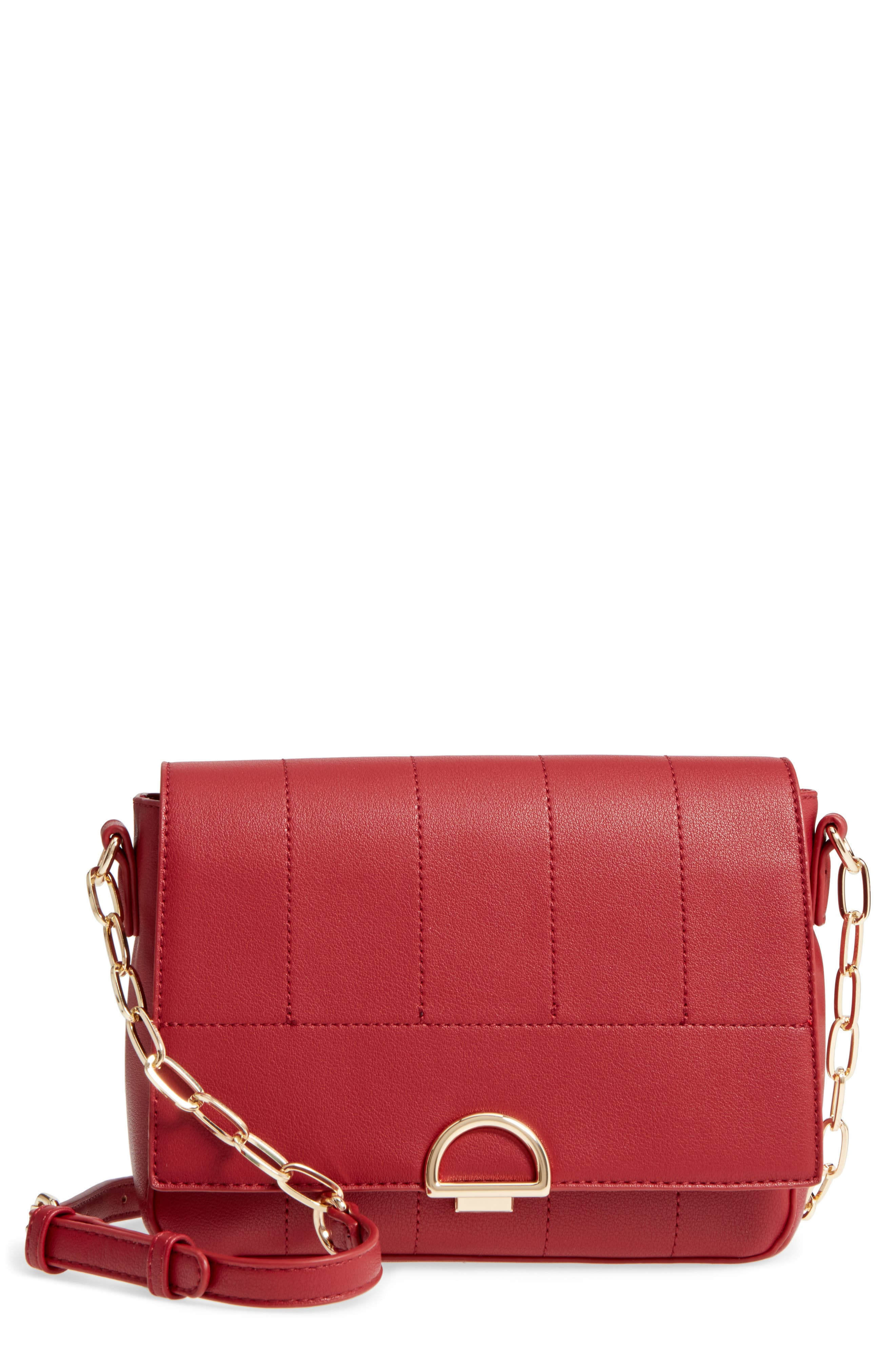 Colie Faux Leather Crossbody Bag,                         Main,                         color, Cherry Red