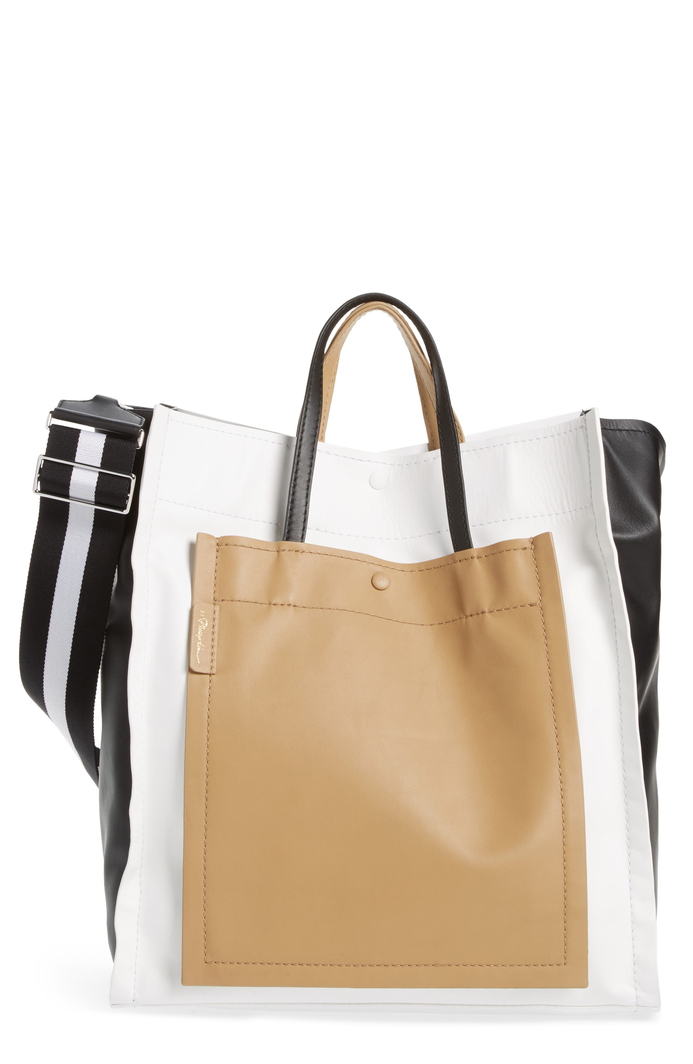 Leather Accordion Tote,                         Main,                         color, Natural