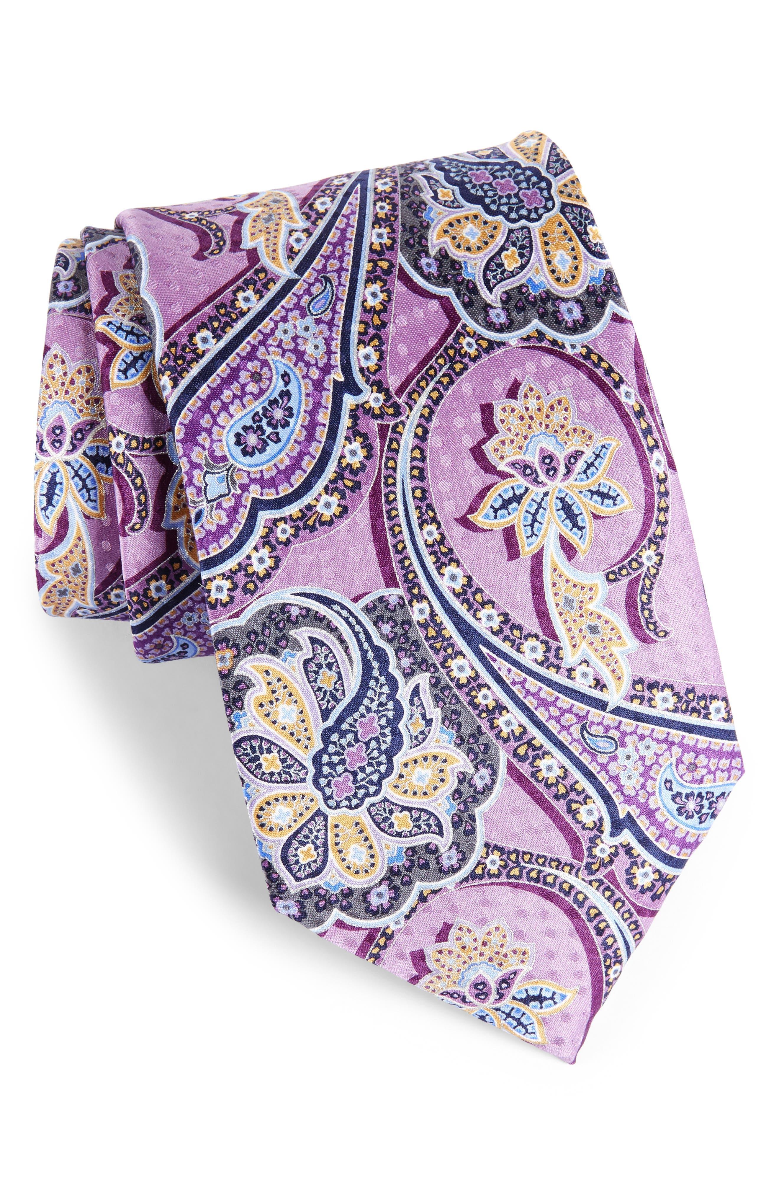 Paisley Silk Tie,                         Main,                         color, Lilac