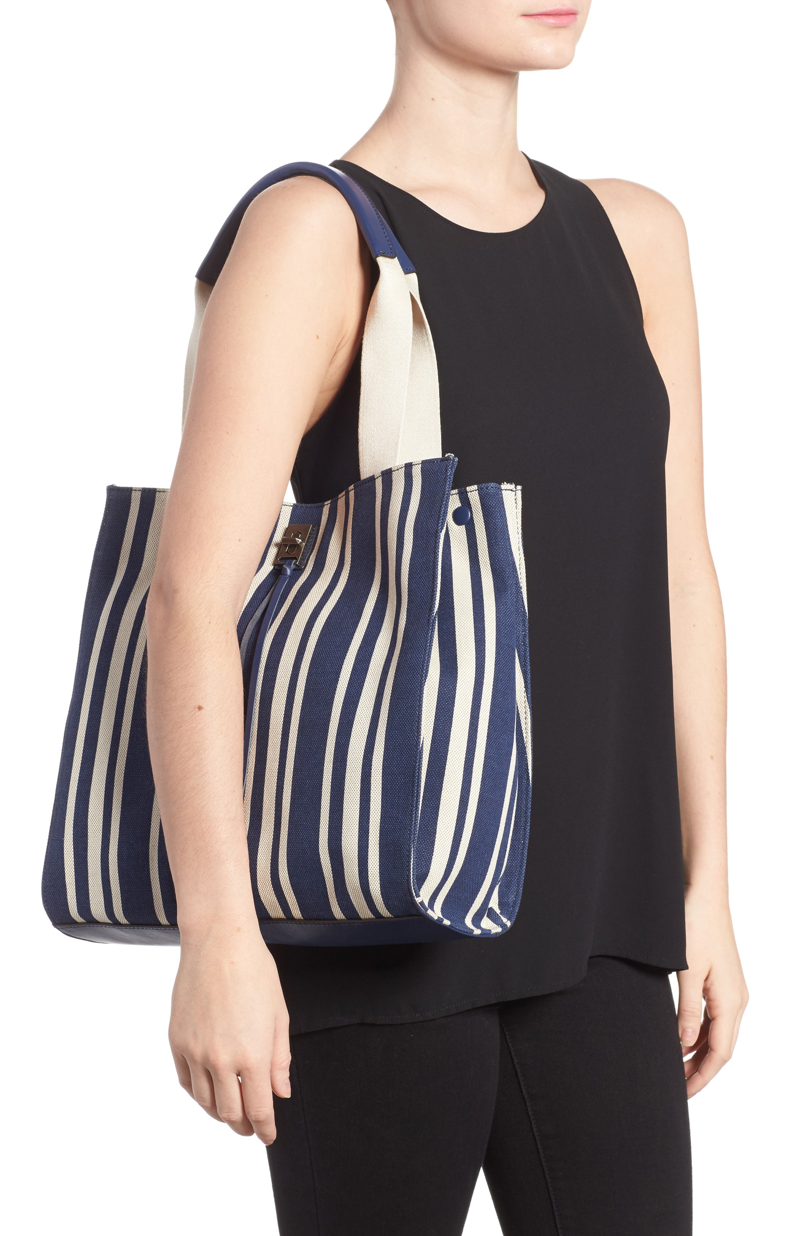 Darren Stripe Canvas Tote,                             Alternate thumbnail 3, color,                             Navy Stripe