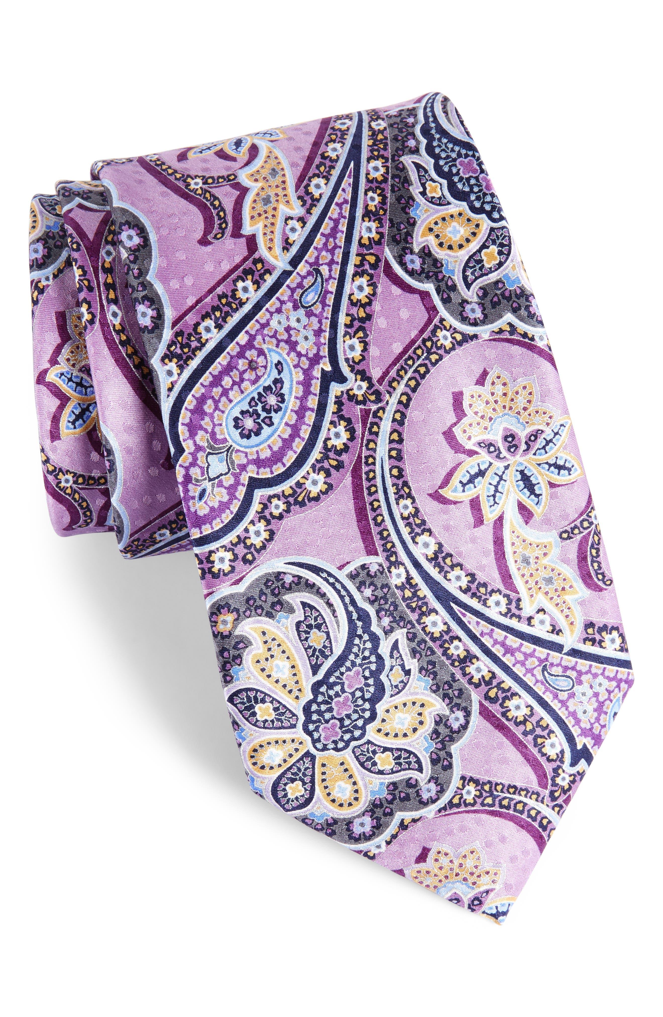 Paisley Silk Tie,                             Main thumbnail 1, color,                             Lilac