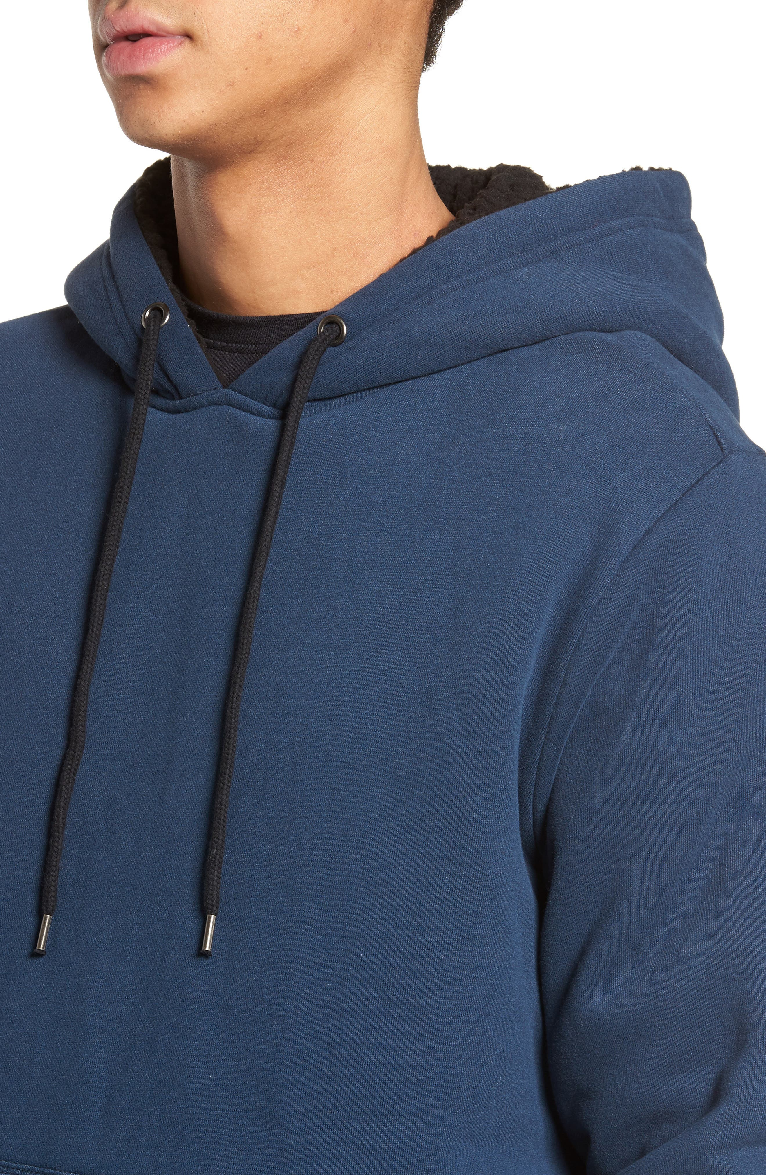 Staple Faux Shearling Trim Hoodie,                             Alternate thumbnail 4, color,                             Navy