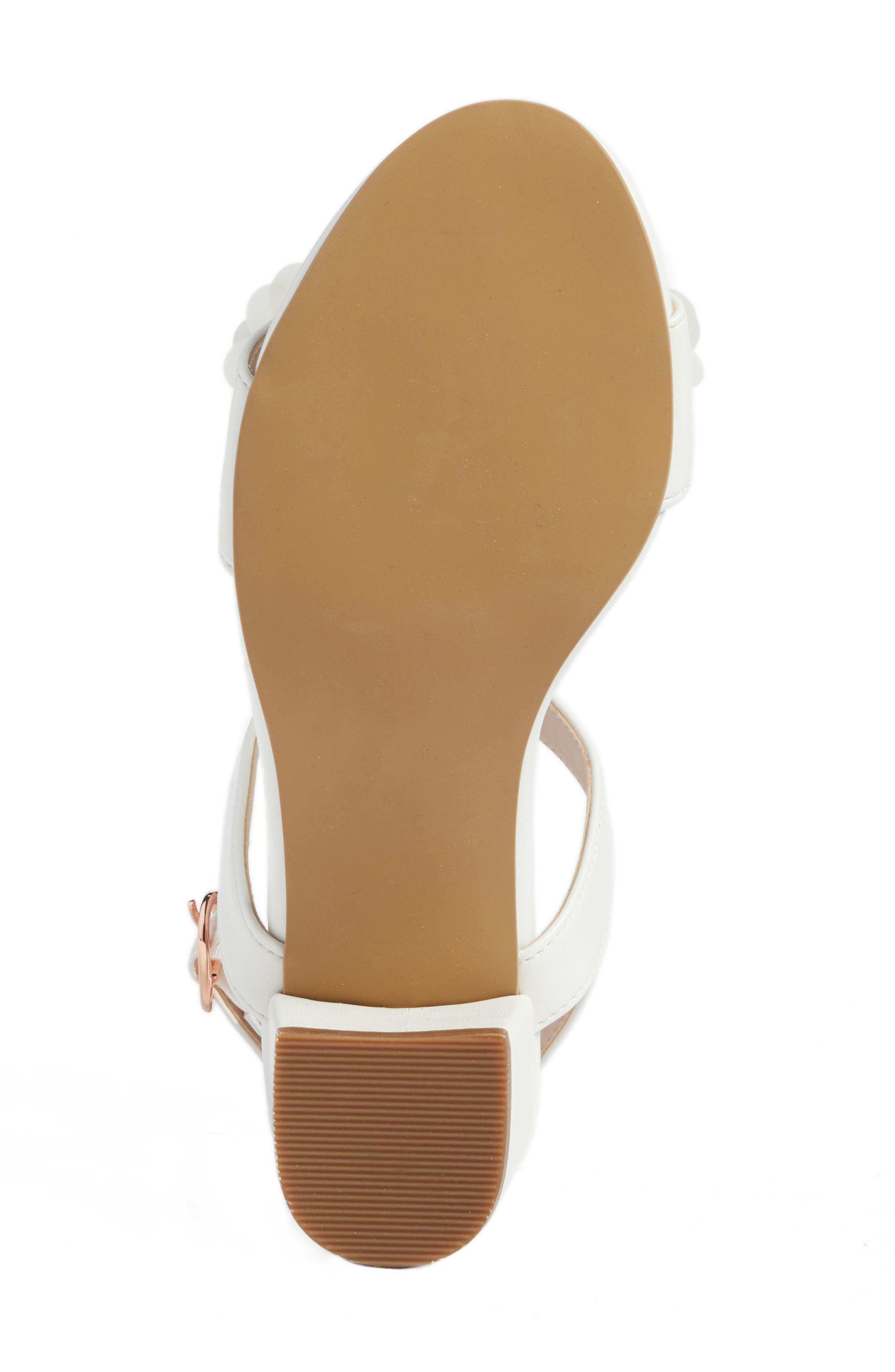 Dina Flowered Sandal,                             Alternate thumbnail 6, color,                             White Faux Leather