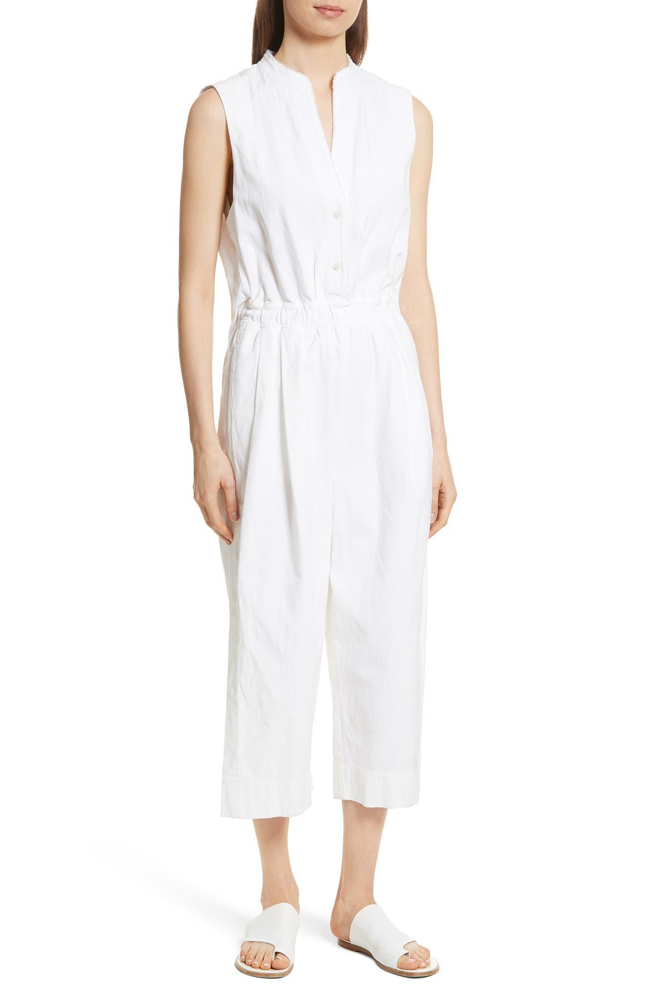 Split Back Jumpsuit,                         Main,                         color, Optic White
