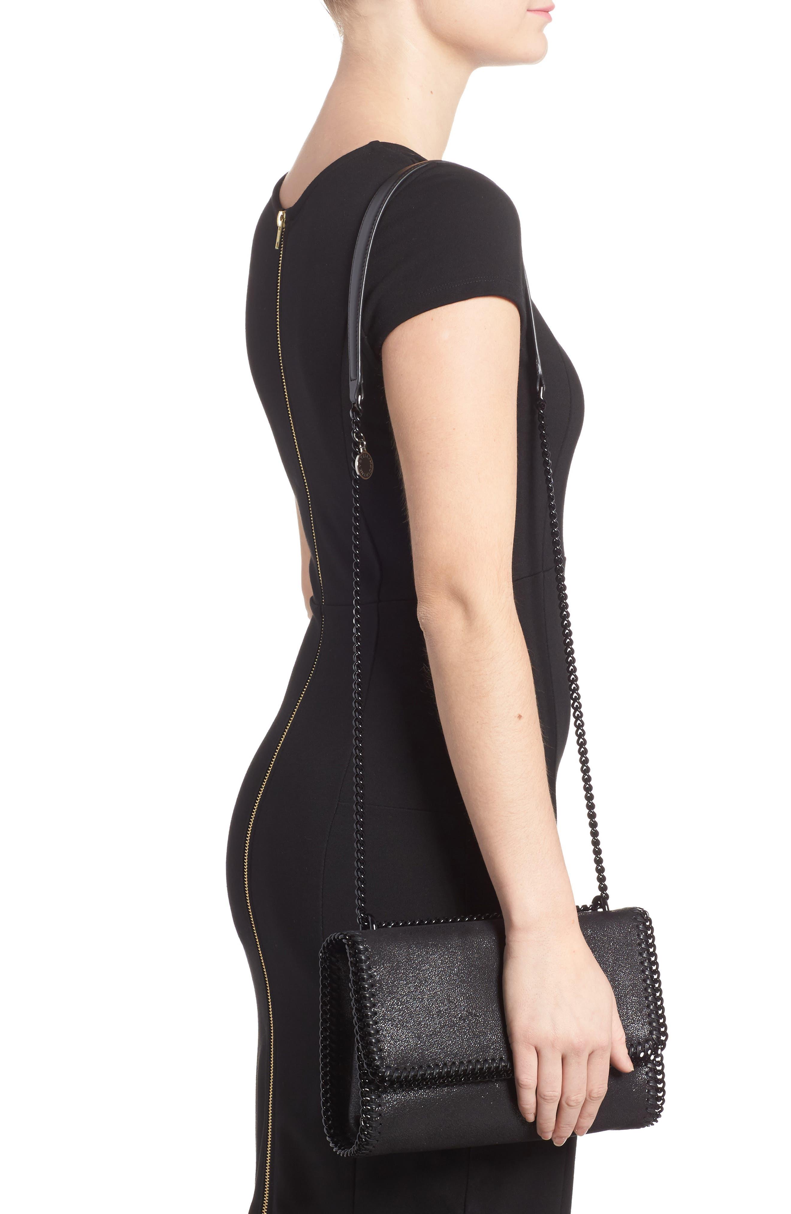 Falabella Shaggy Deer Faux Leather Shoulder Bag,                             Alternate thumbnail 2, color,                             Black