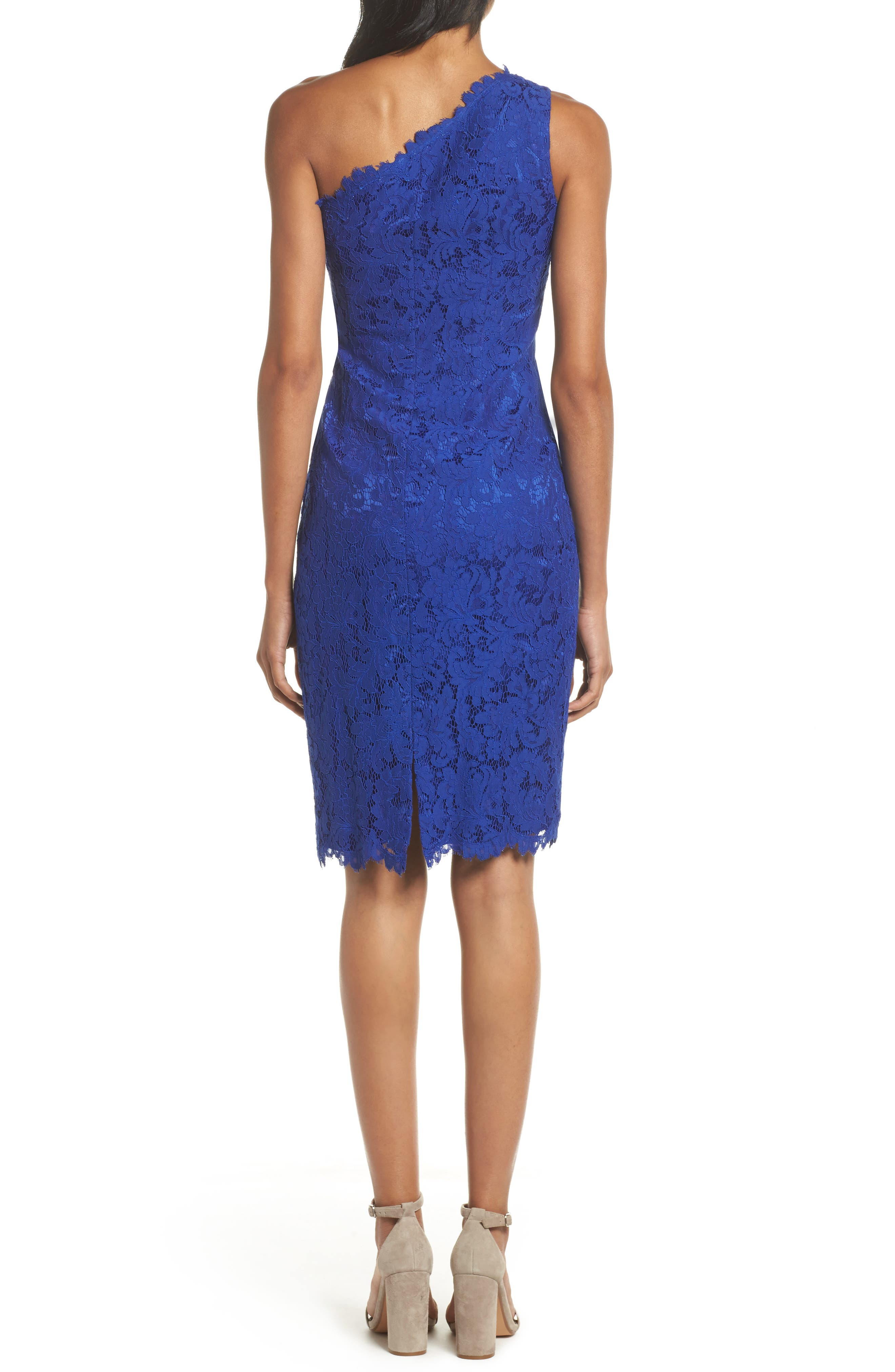 One-Shoulder Lace Sheath Dress,                             Alternate thumbnail 2, color,                             Royal